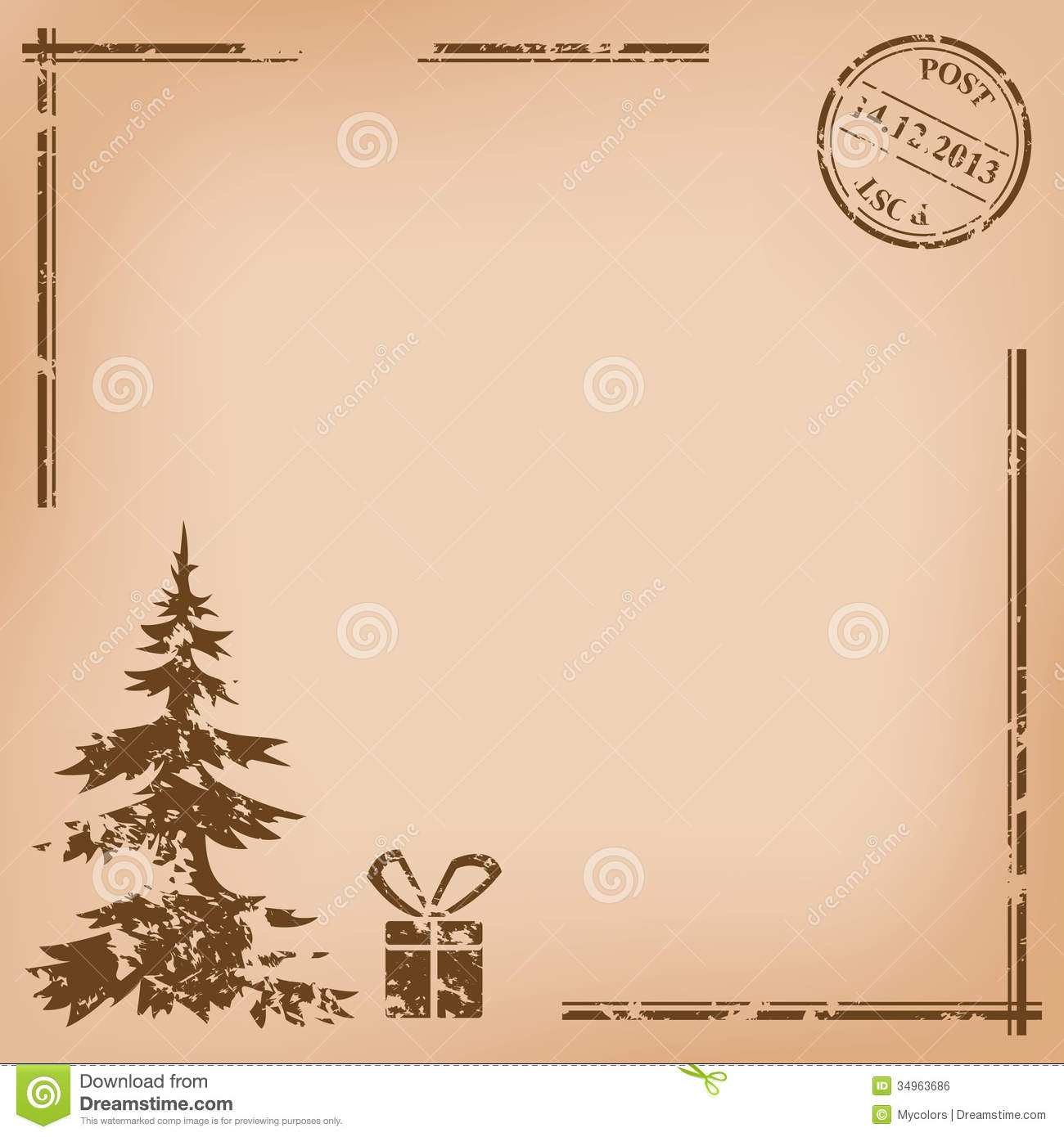Old vintage vector postcard for christmas royalty free