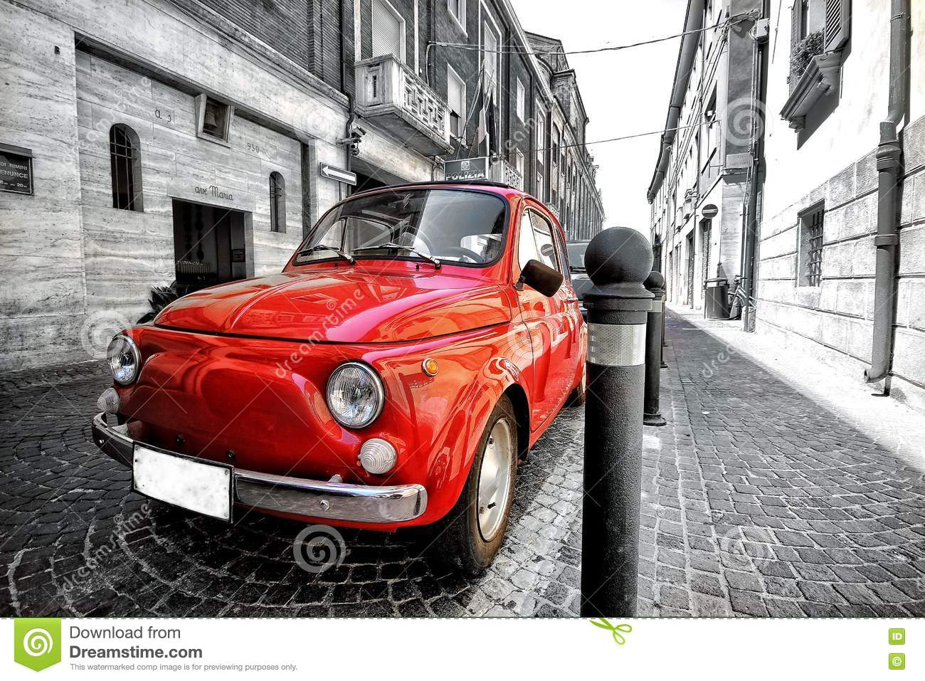 Old Vintage Red Black And White Classic Fiat 500 Car In