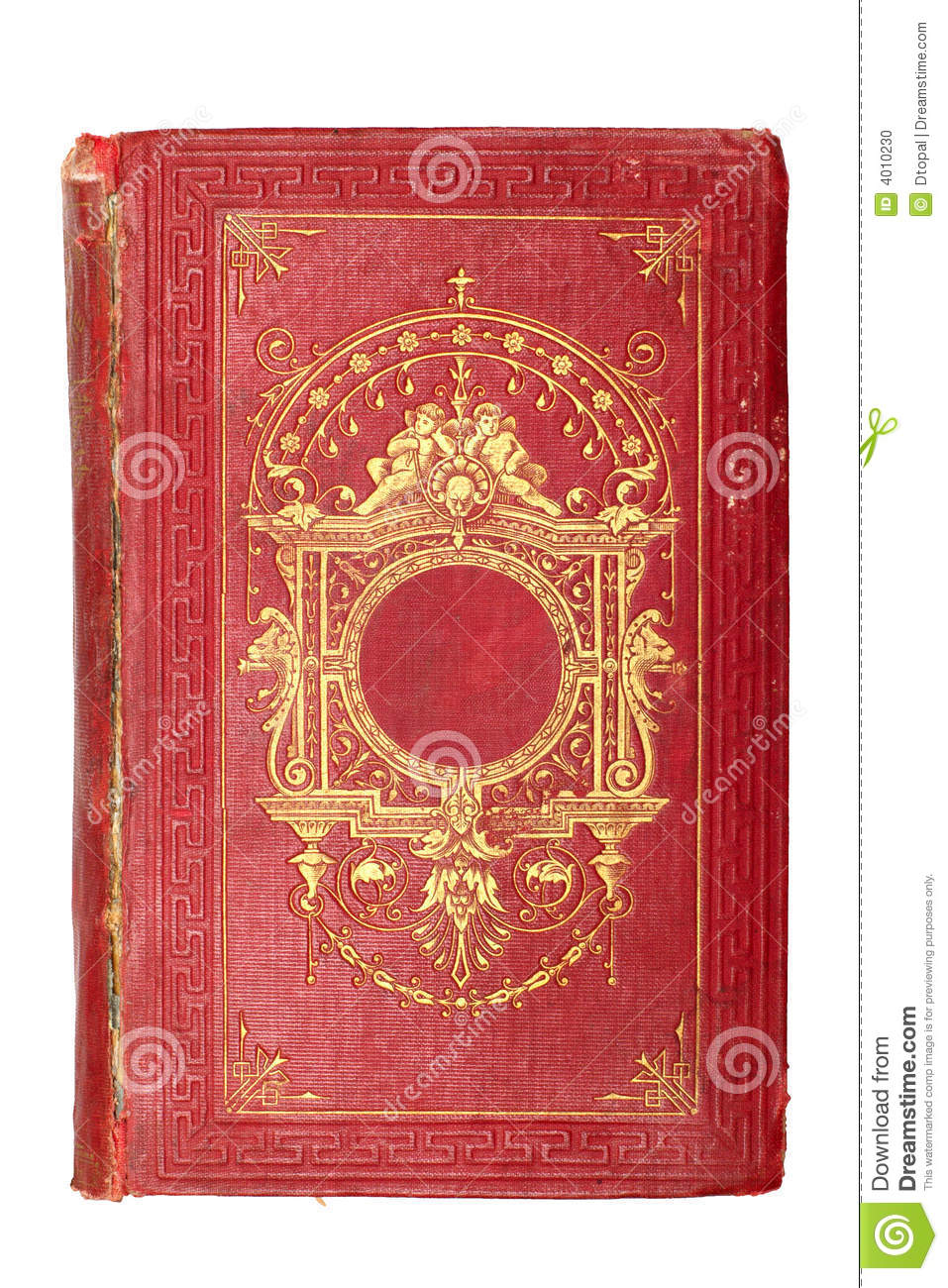 Old Red Book Cover ~ Old vintage red book decorated with gold stock photo