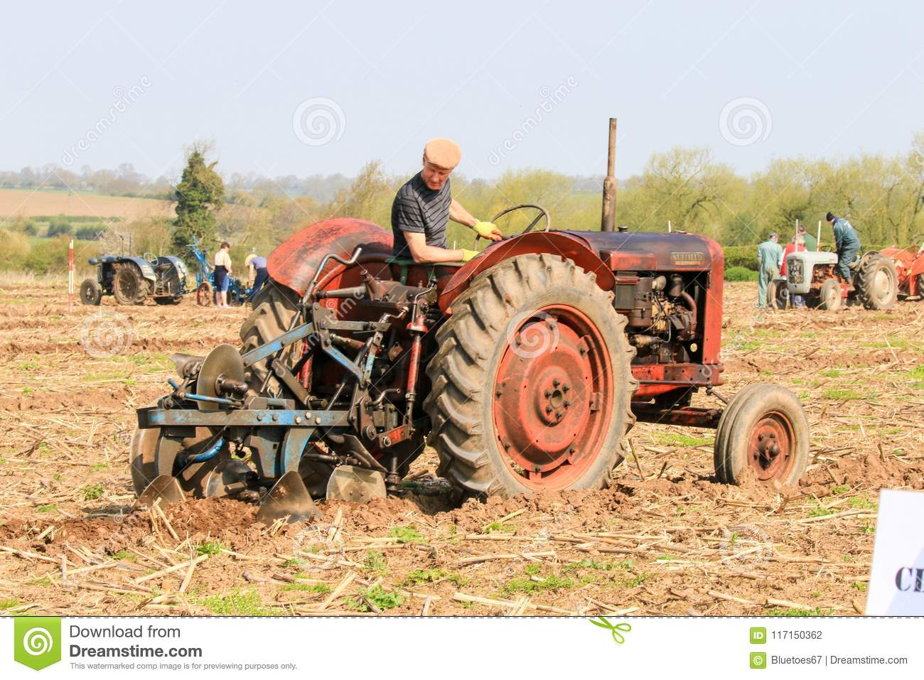 Old Red Massey Fergusen Tractor At Ploughing Match