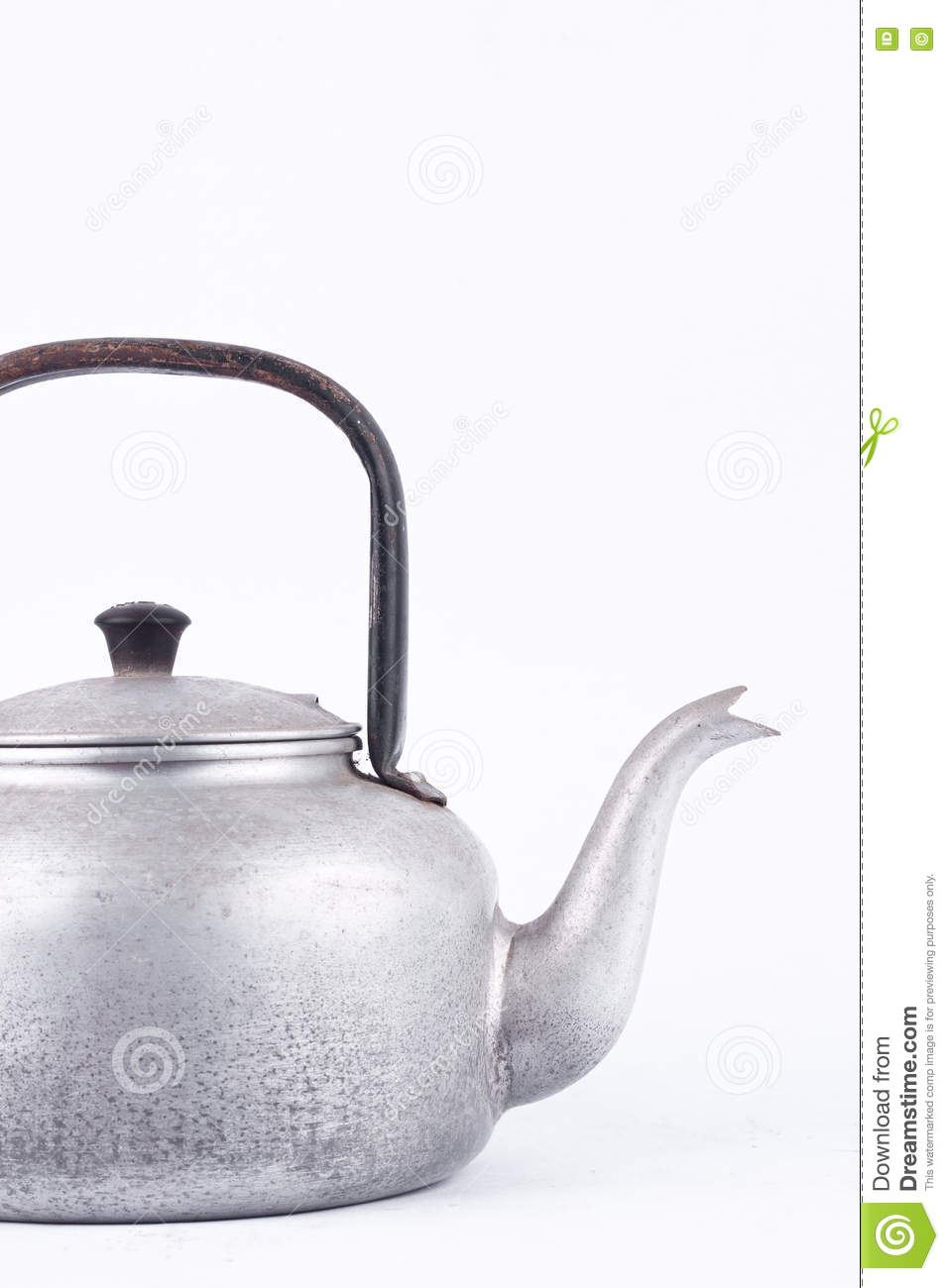 Old vintage retro Kettle on white background drink isolated close up. Which, kettle made of aluminum materials.