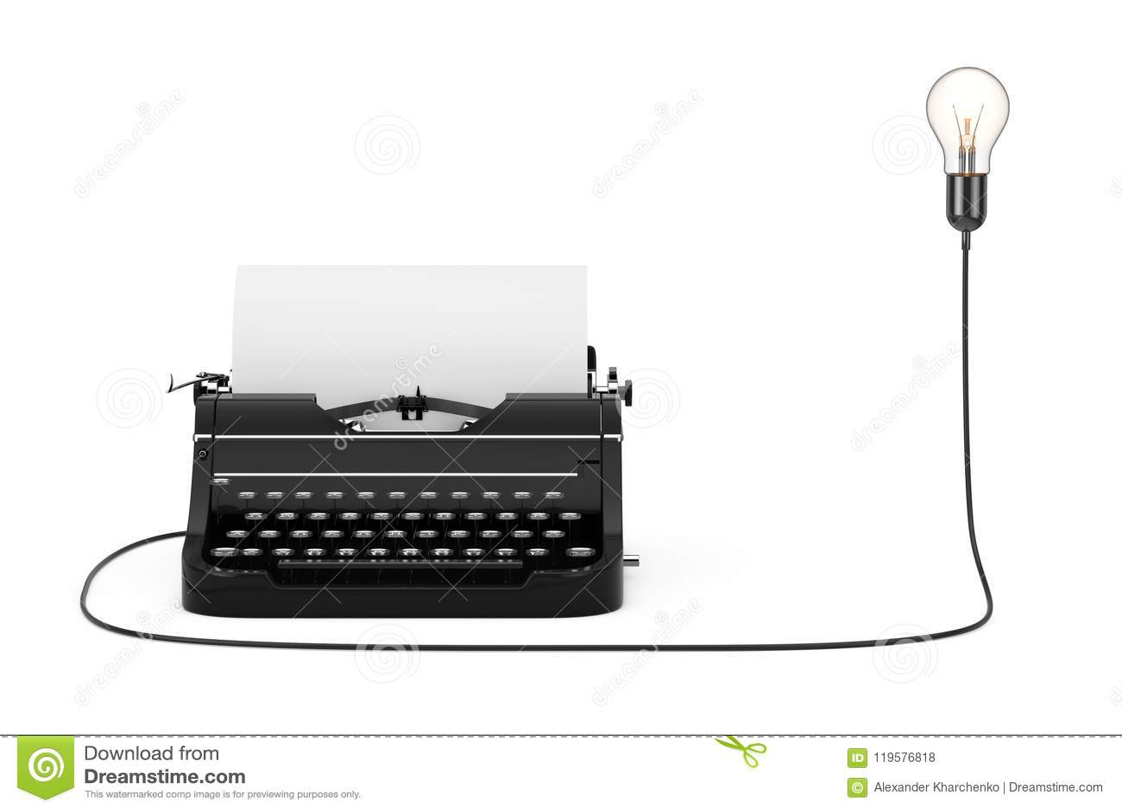 Old Vintage Retro Typewriter Connected to Creative Idea Light Bu