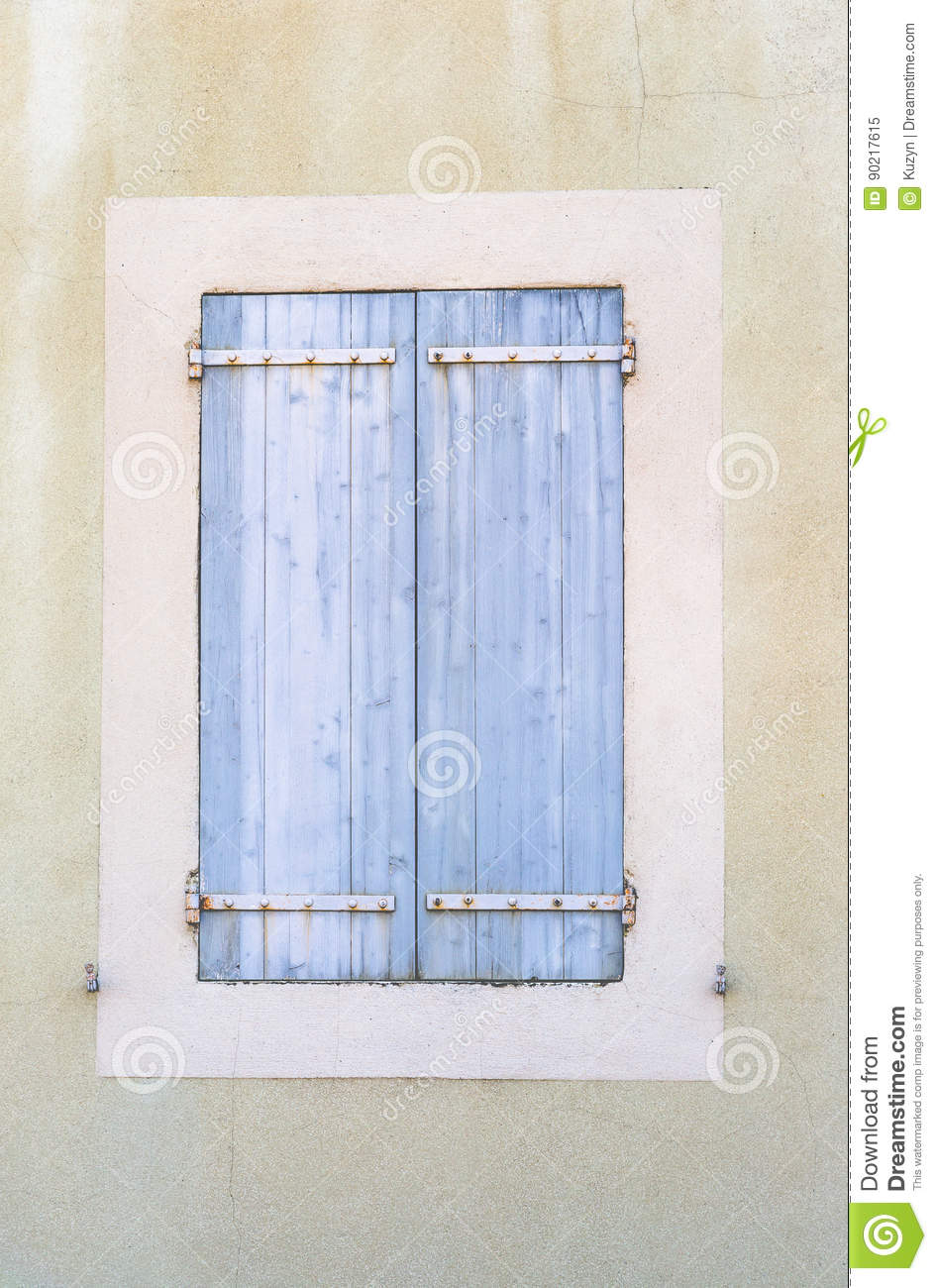 Old Vintage Rustic Blue Closed Windows Shutters French Style