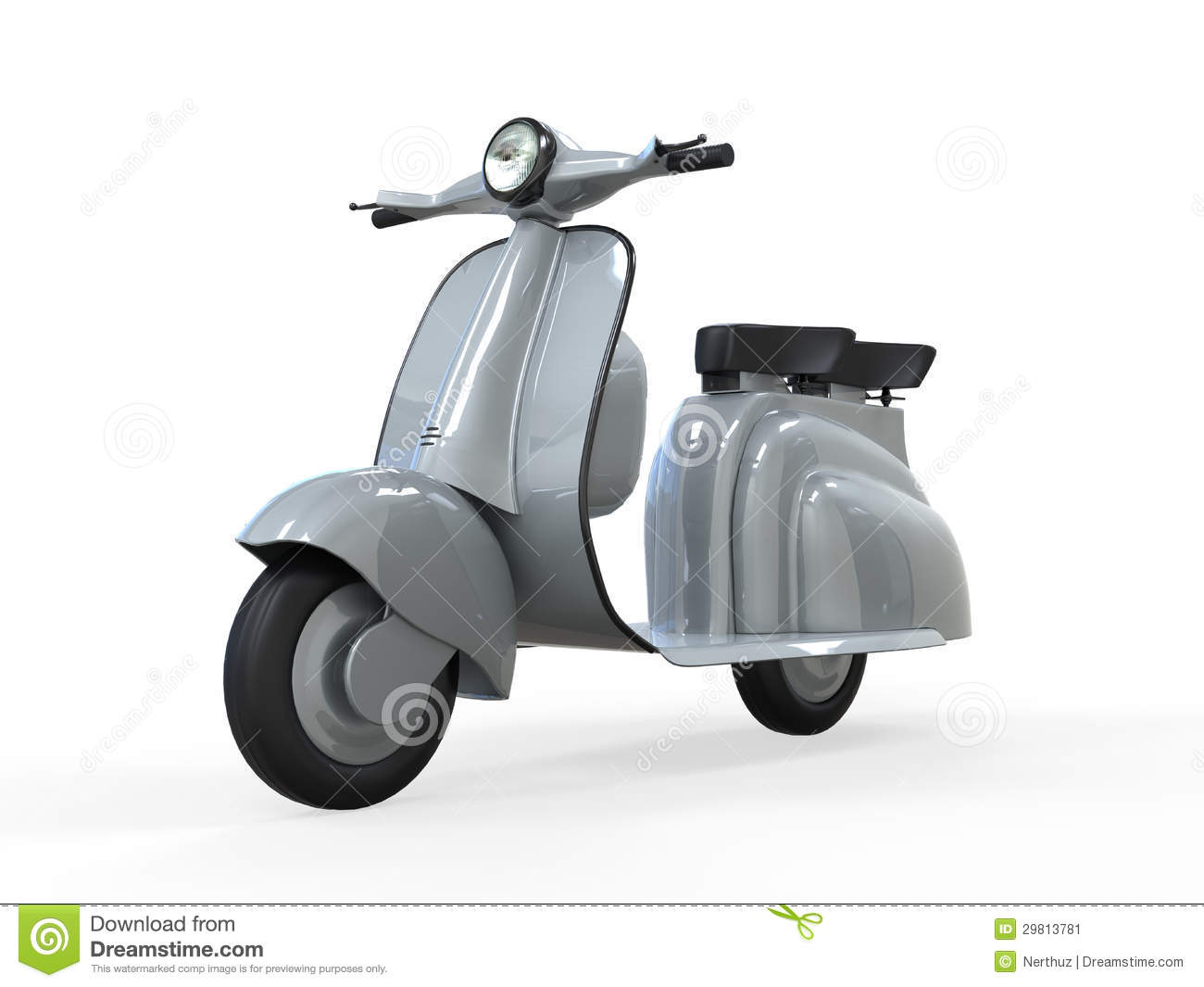 Old Vintage Scooter Isolated On Whitebackground 3d Render