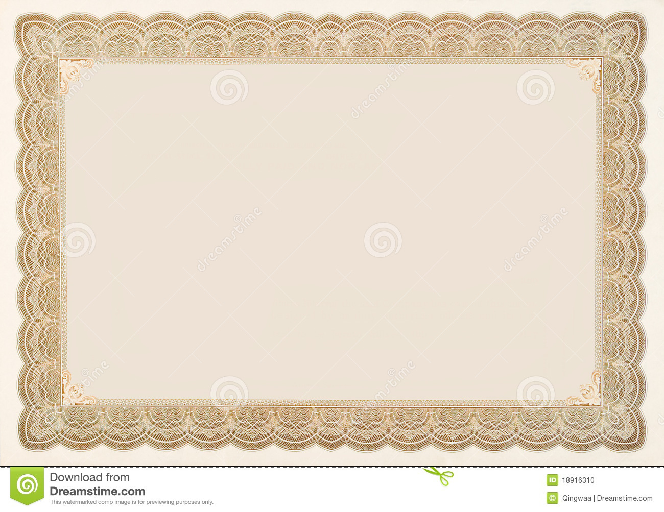 Old Vintage Stock Certificate Empty Boarder Stock Photo ...