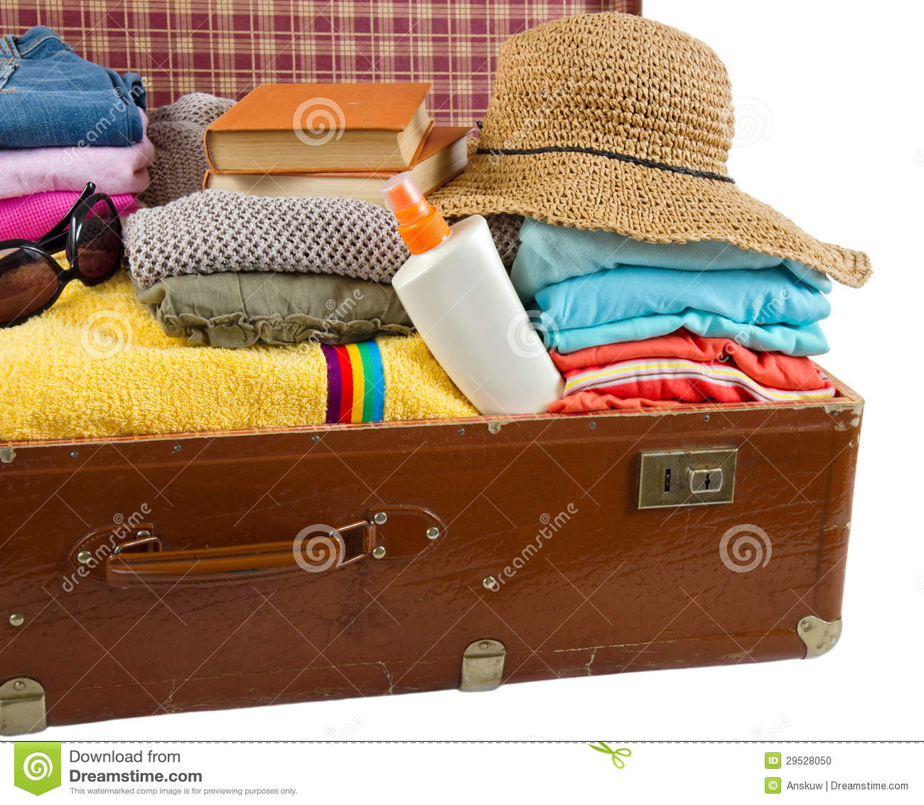 old vintage suitcase packed with clothes and vacation accessorie stock photo image 29528050. Black Bedroom Furniture Sets. Home Design Ideas