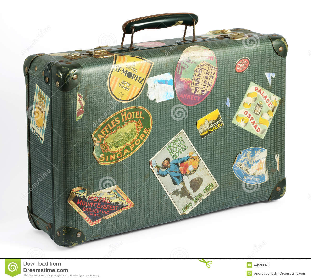 Old Vintage Suitcase With Travel Labels Stock Photo - Image: 44590823