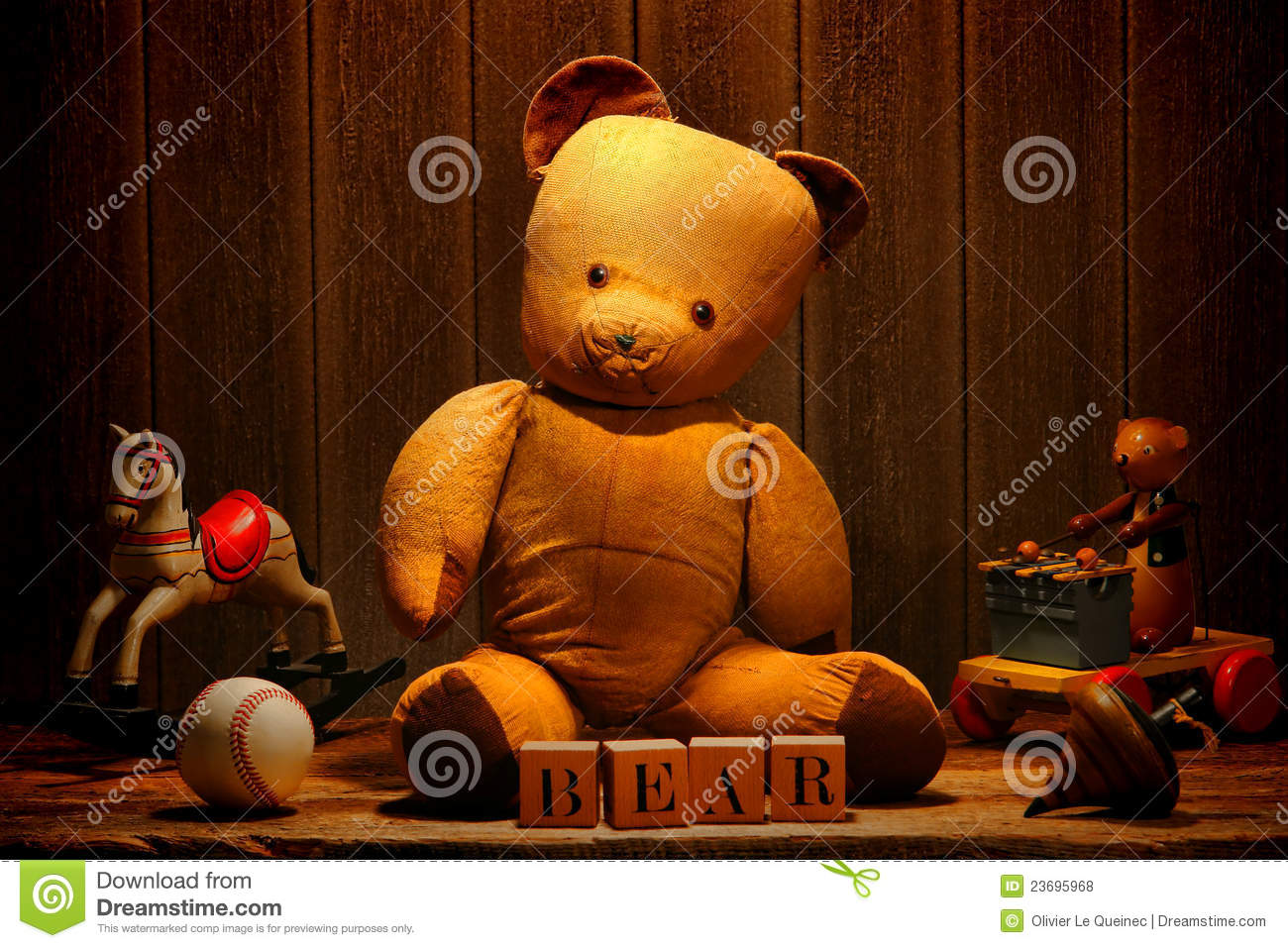 Old Vintage Teddy Bear And Antique Toys In Attic Royalty