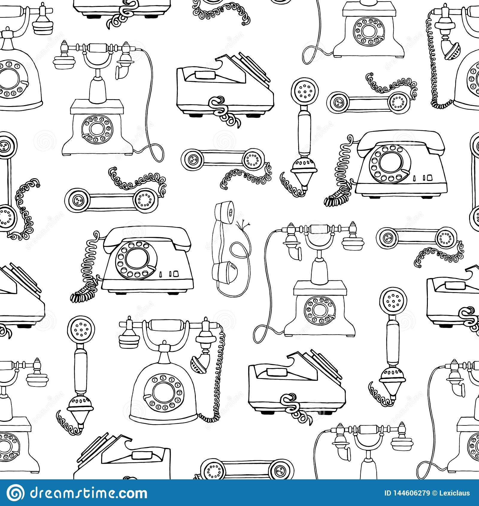 Old vintage telephone background. Vector seamless pattern of retro phones. Repeat backdrop of black telephones isolated on white