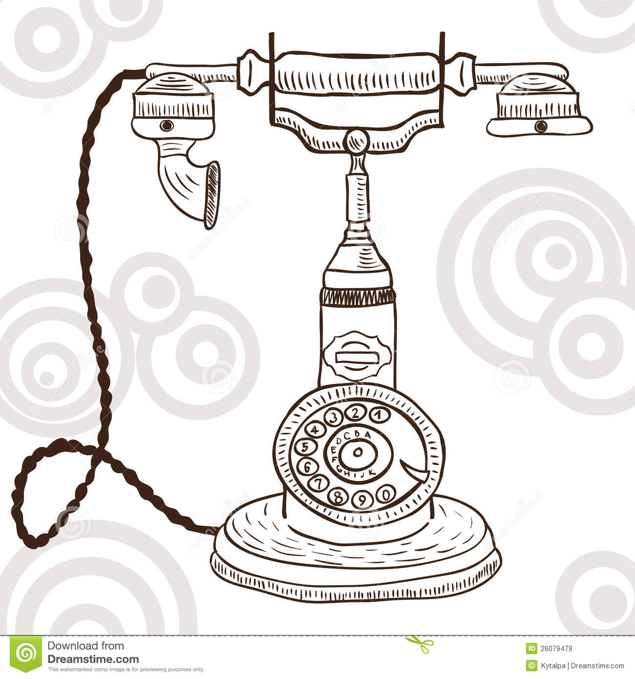 Old vintage telephone - retro illustration  doodle style Vintage Telephone Illustration