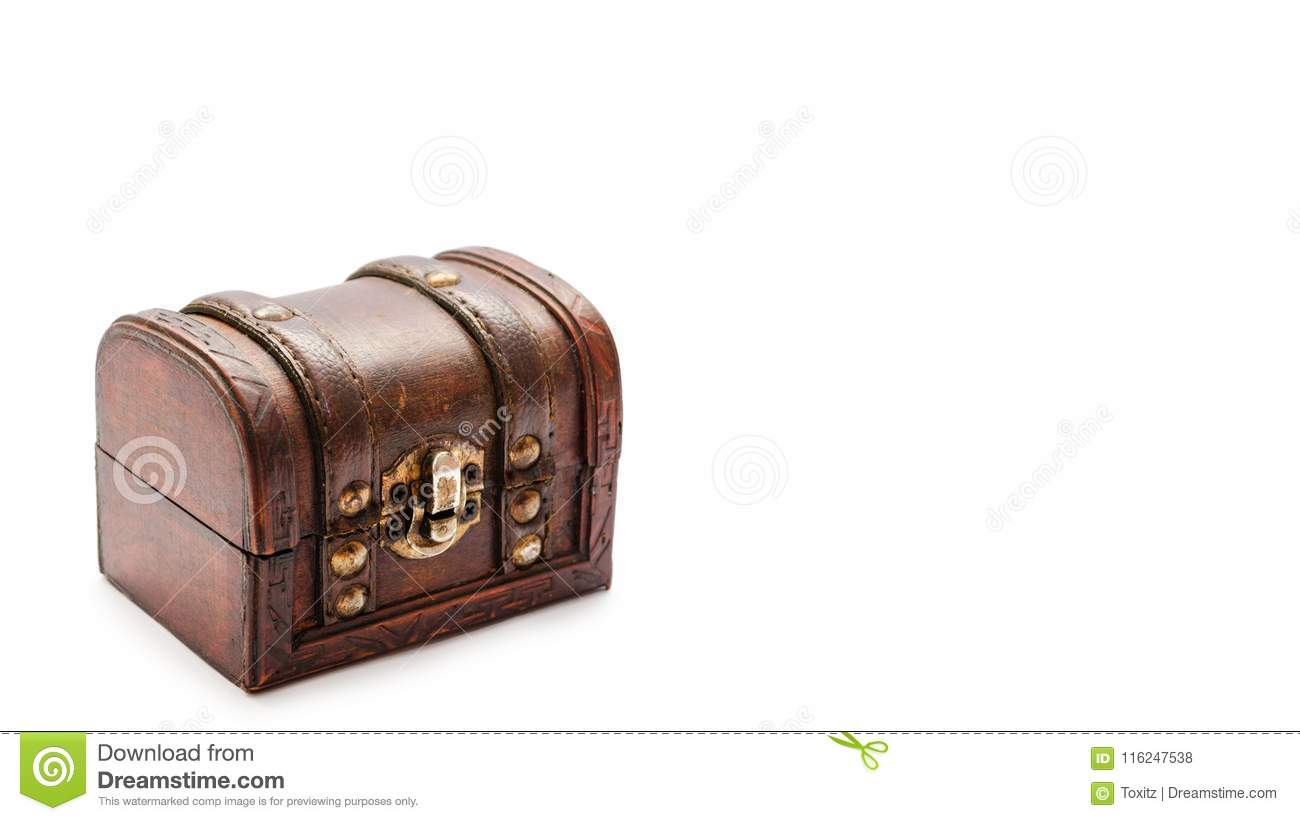 old vintage treasure chest isolated on white background copy space