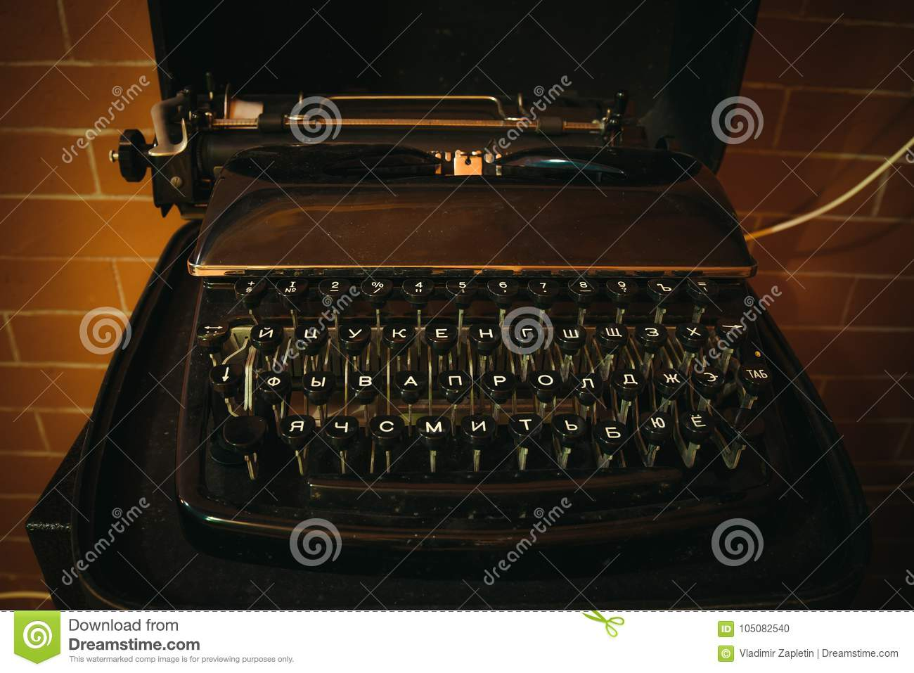 8b3e100a38a Old Vintage Typewriter With Russian Keys Stock Photo - Image of memo ...