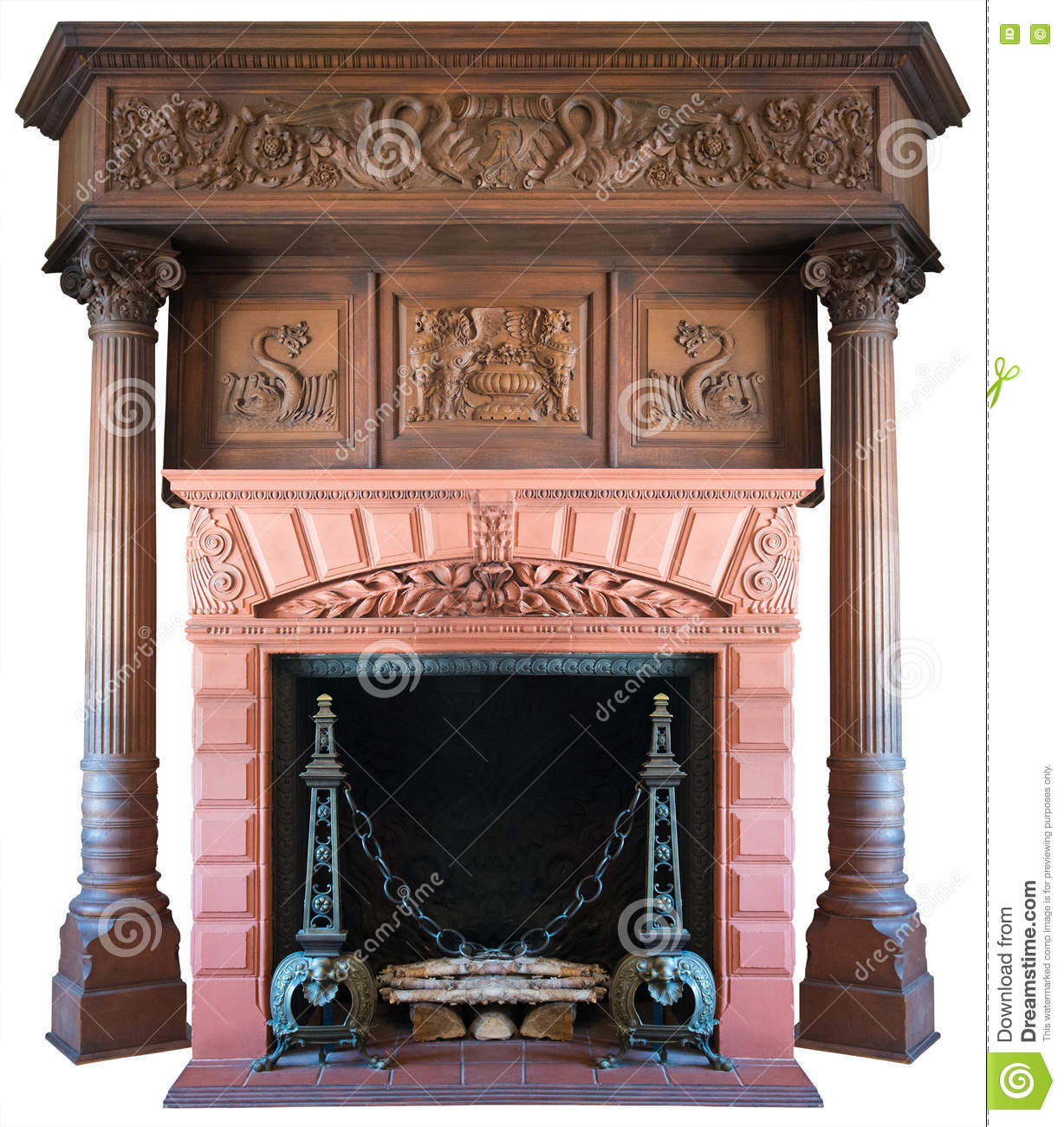 Old Vintage Victorian Fireplace Isolated
