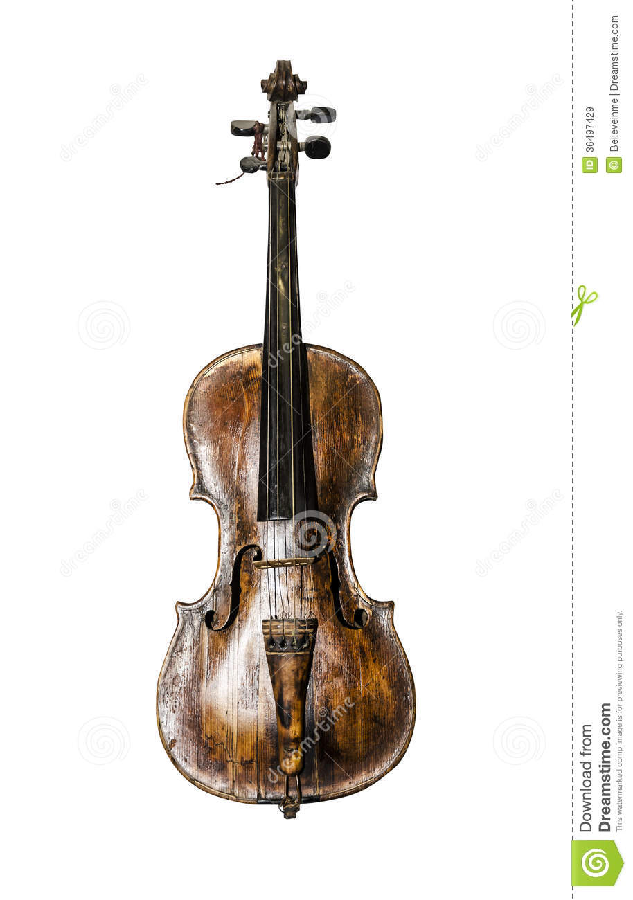 Images of the old vintage violin. Isolated on white background.