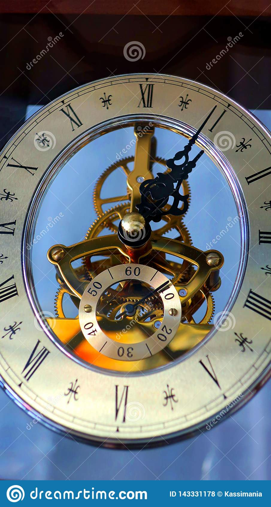 Old vintage wall blue clock