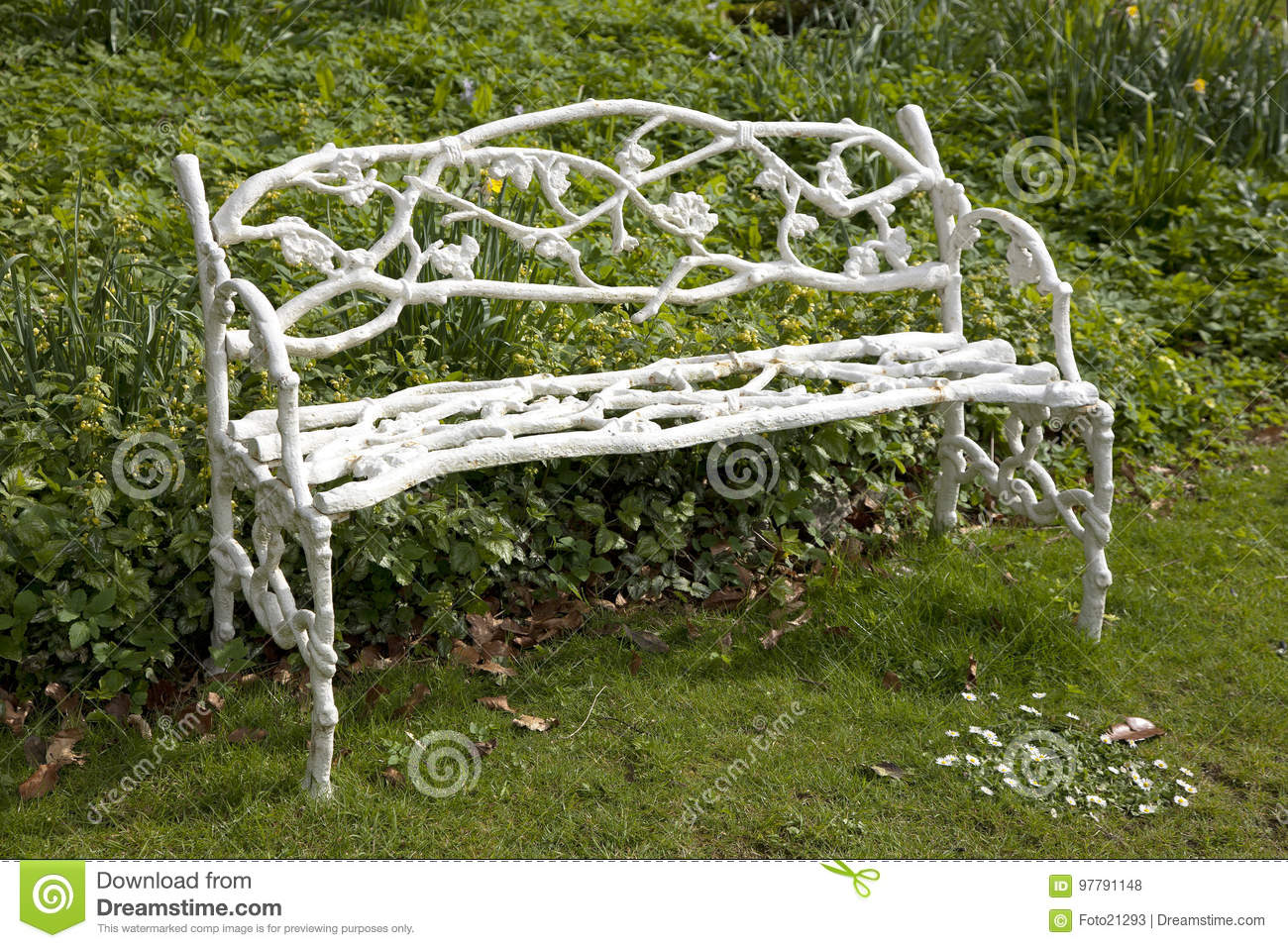 Download Old Vintage White Cast Iron Heavy Garden Bench Stock Photo   Image  Of White,