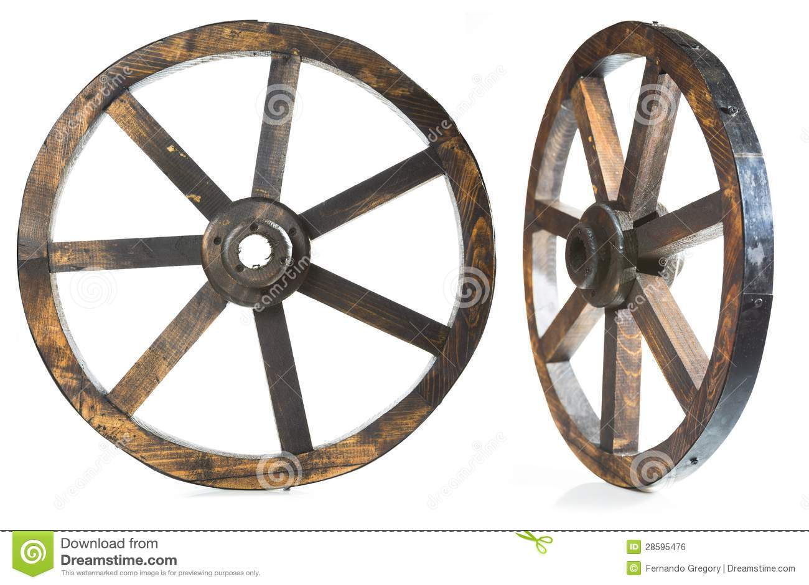 Old Vintage Wood Wheel On White Royalty Free Stock Image