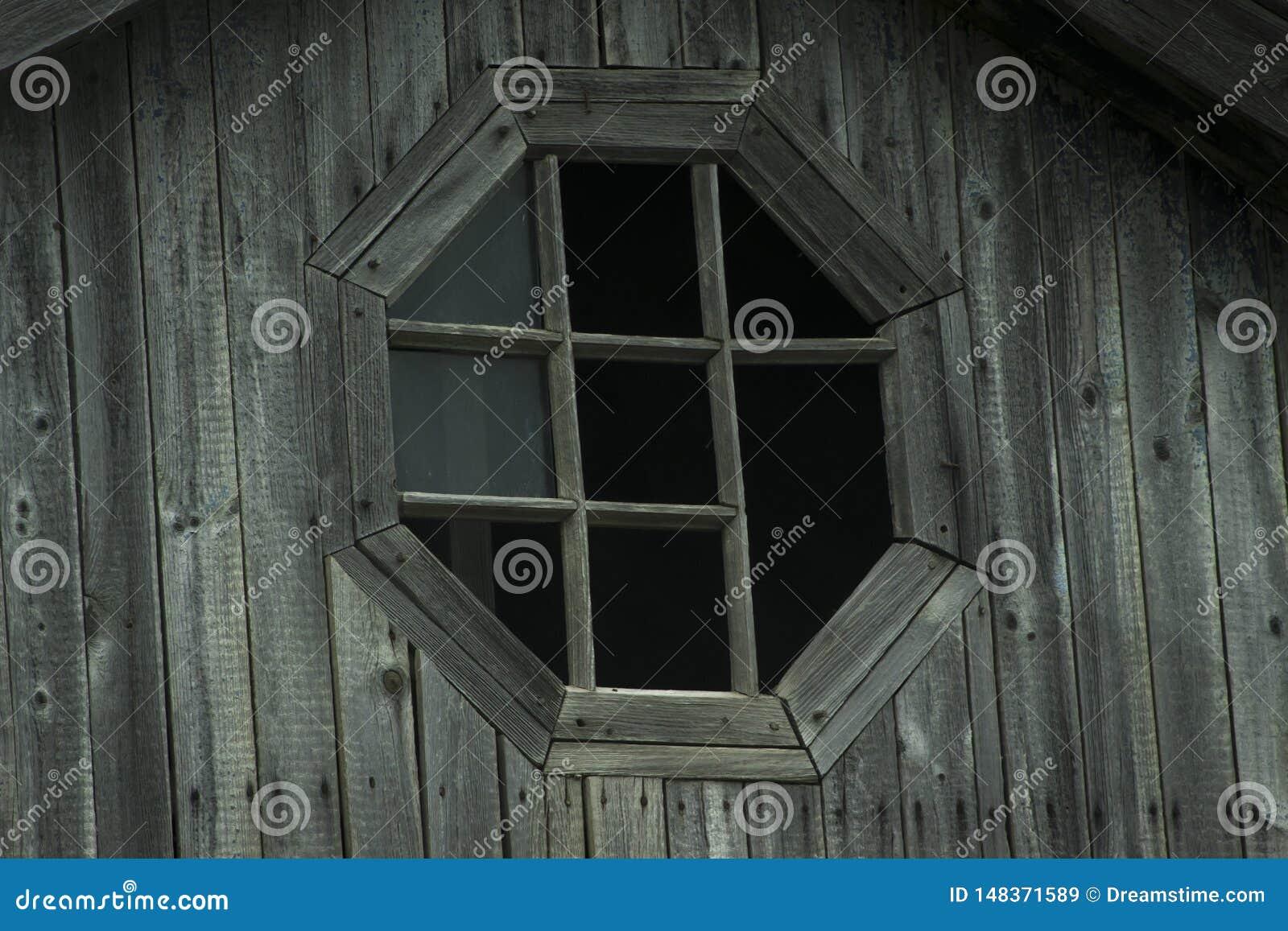 Old vintage wooden broken window