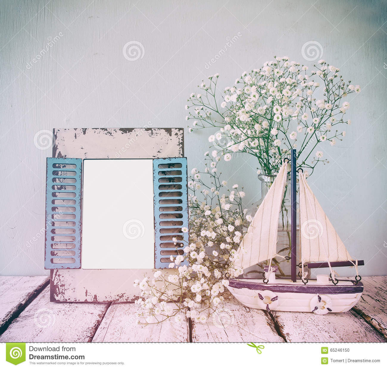 Old Vintage Wooden Frame, White Flowers And Sailing Boat On Wooden ...