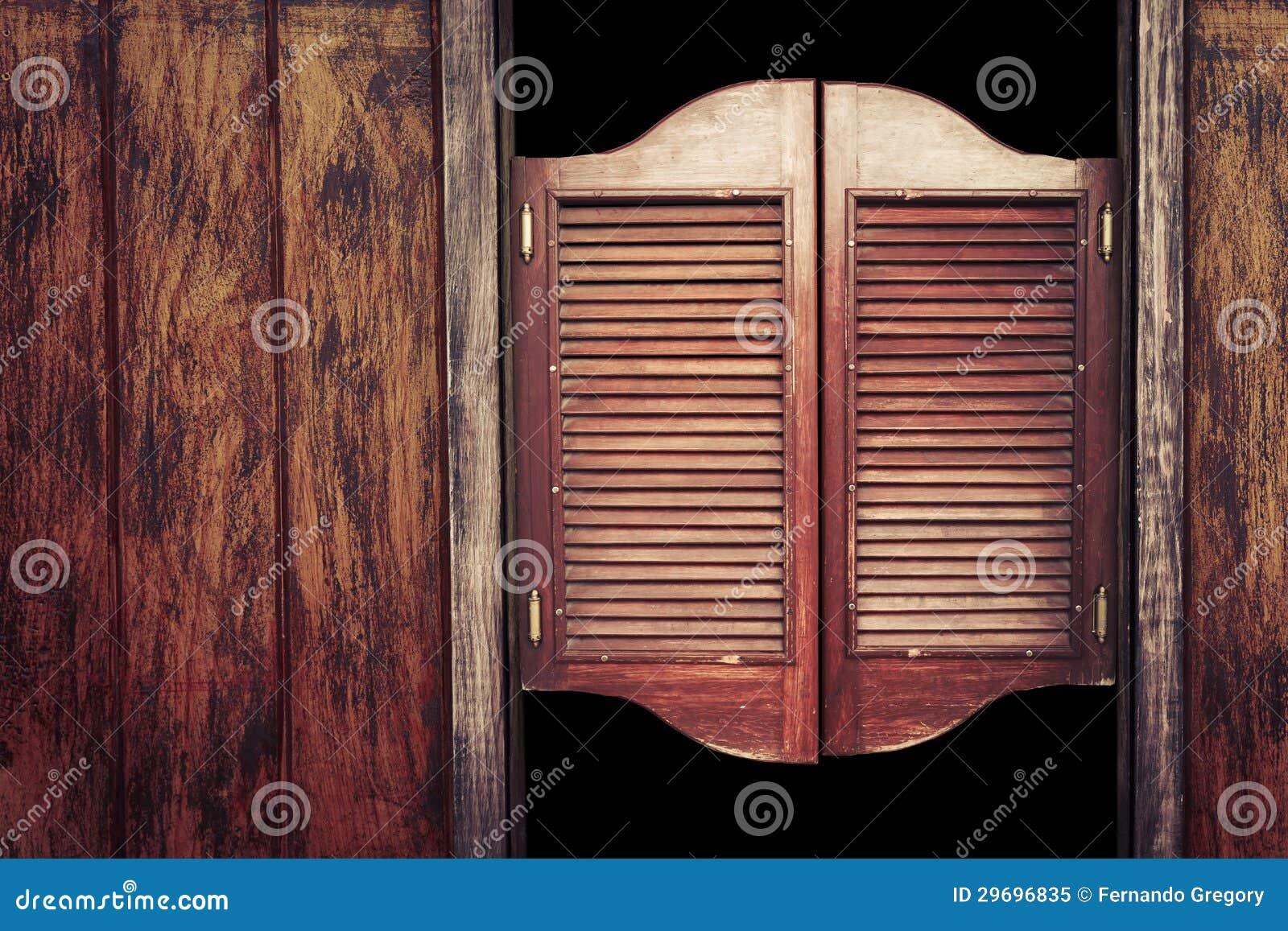 Old vintage wooden saloon doors stock image image 29696835 for Porte de saloon western