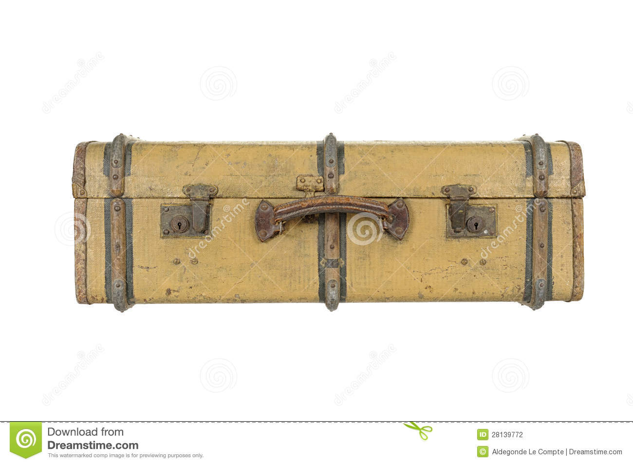 Old Vintage Wooden Suitcase, Isolated On White Stock Photo ...