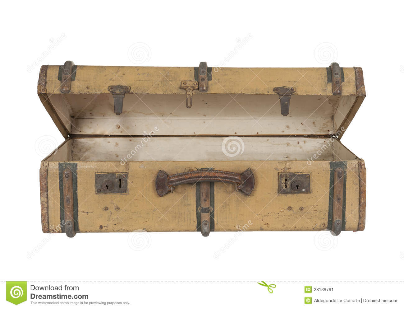Old Vintage Wooden Suitcase, Isolated On White Stock Image - Image ...