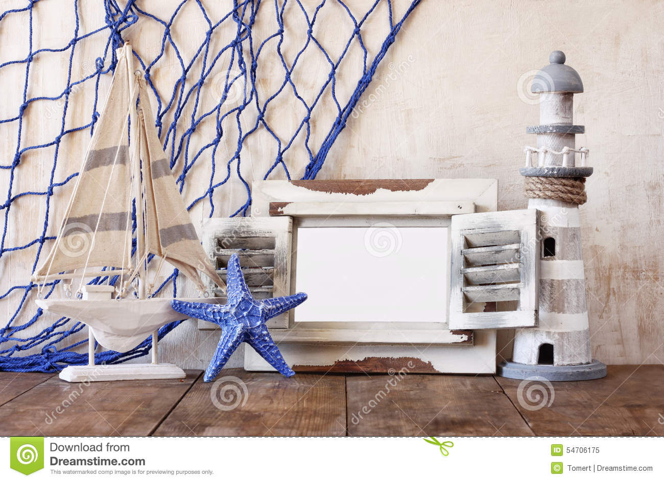 Old Vintage Wooden White Frame, Lighthouse, Starfish And Sailing ...