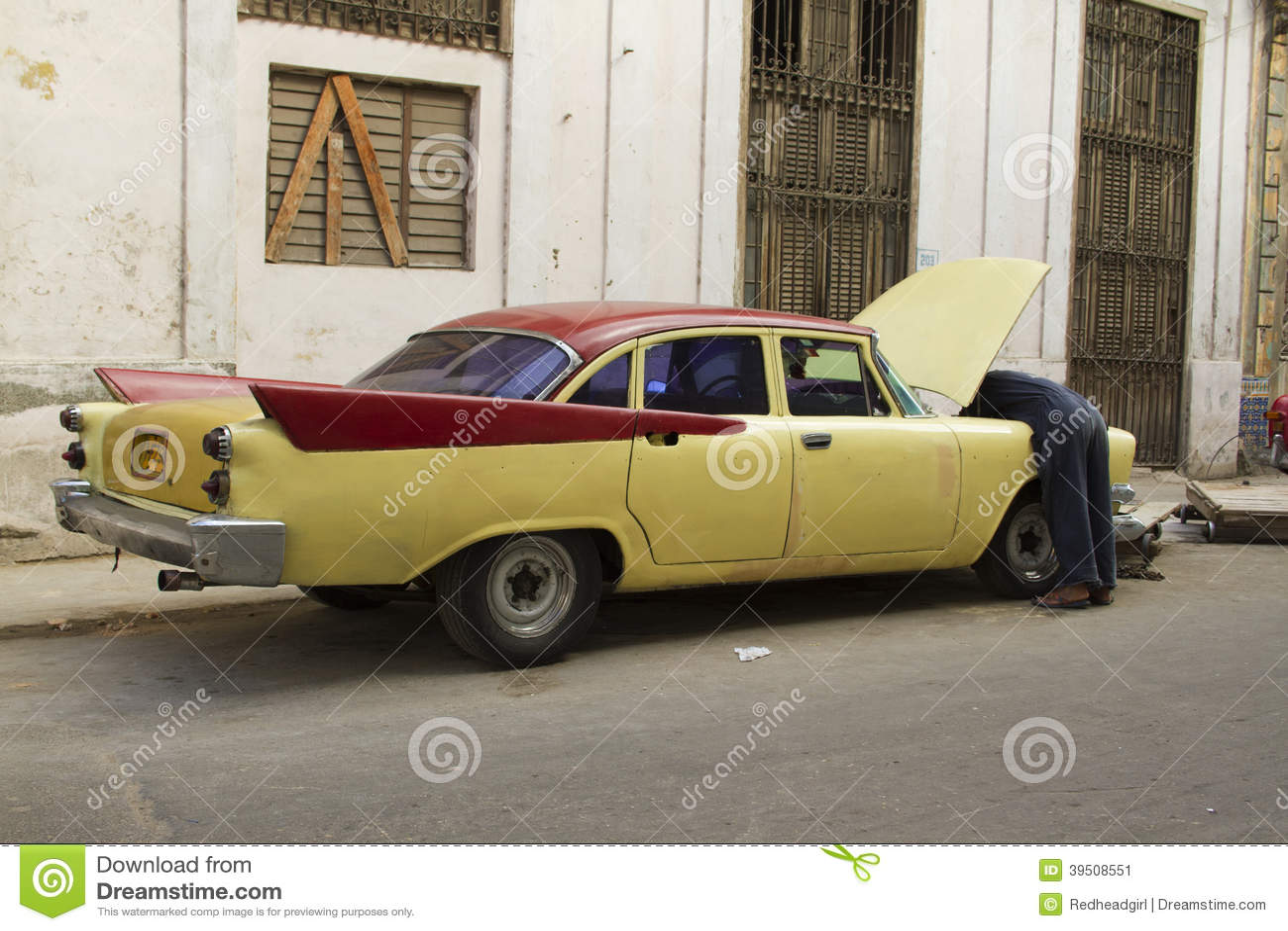 Old vintage Yellow Cuban Car