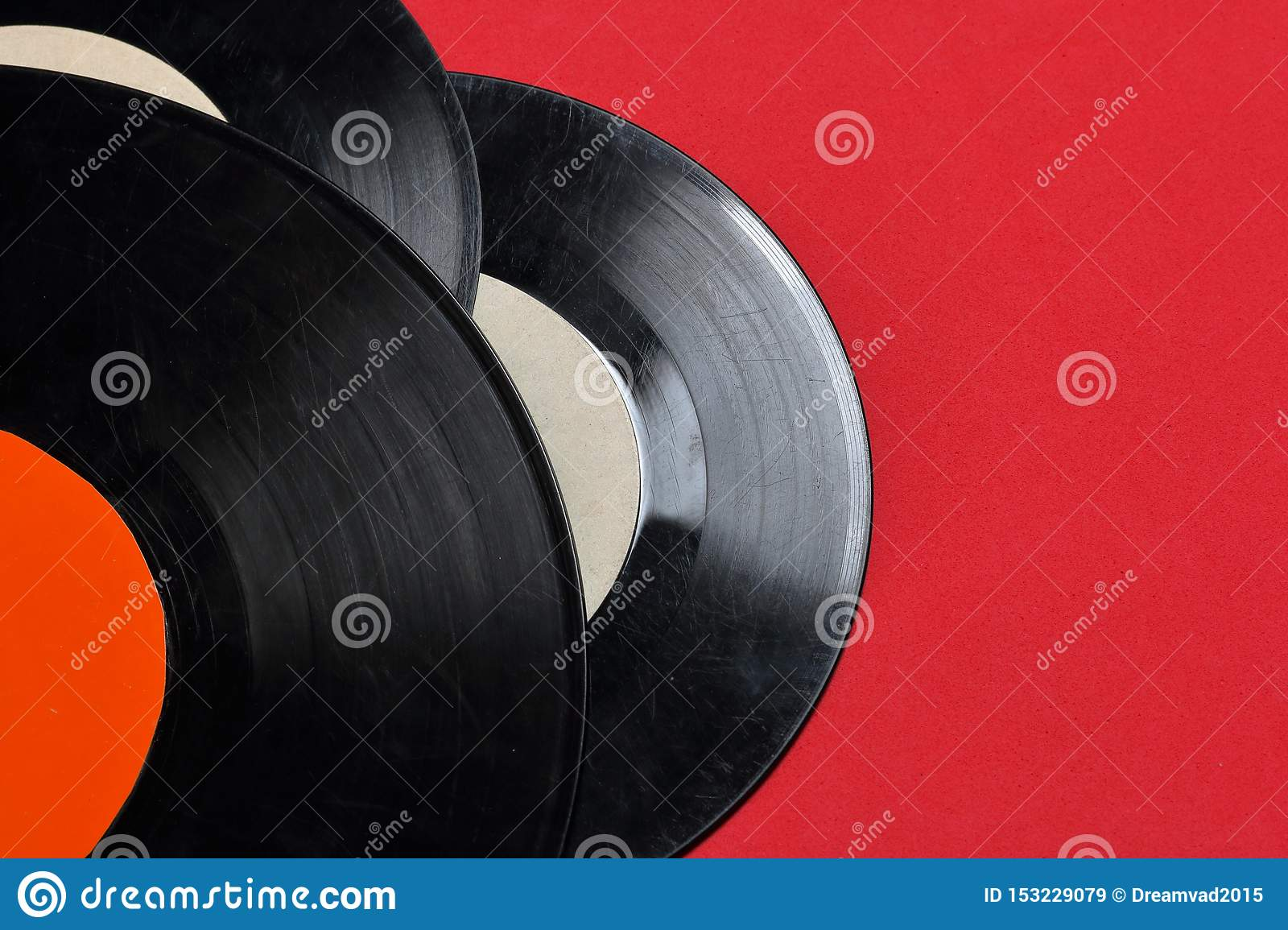 Old vinyl records. Worn and dirty.