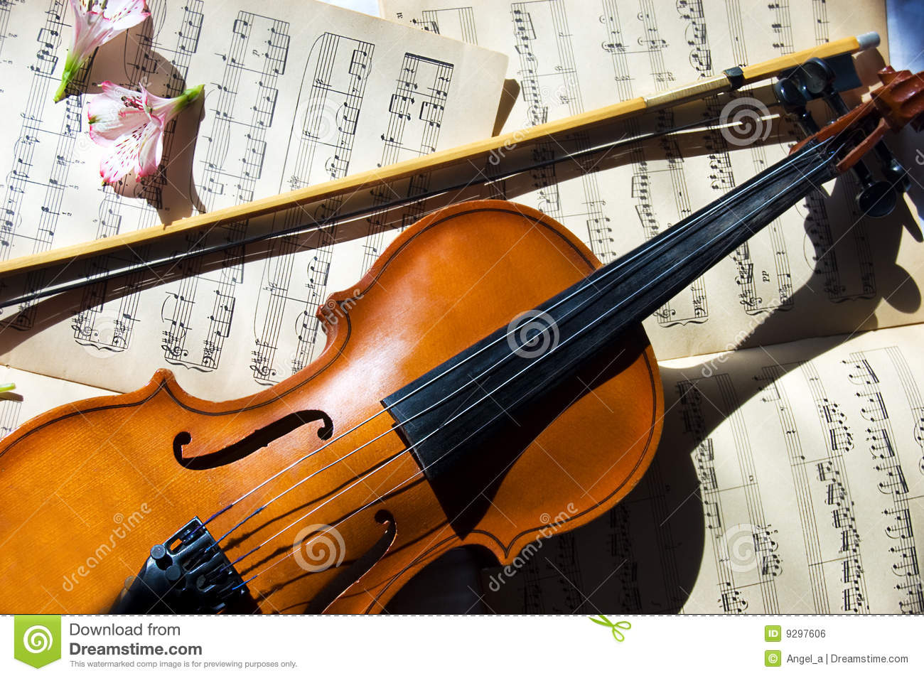 old violin, fiddle-stick and music sheet stock photo - image of