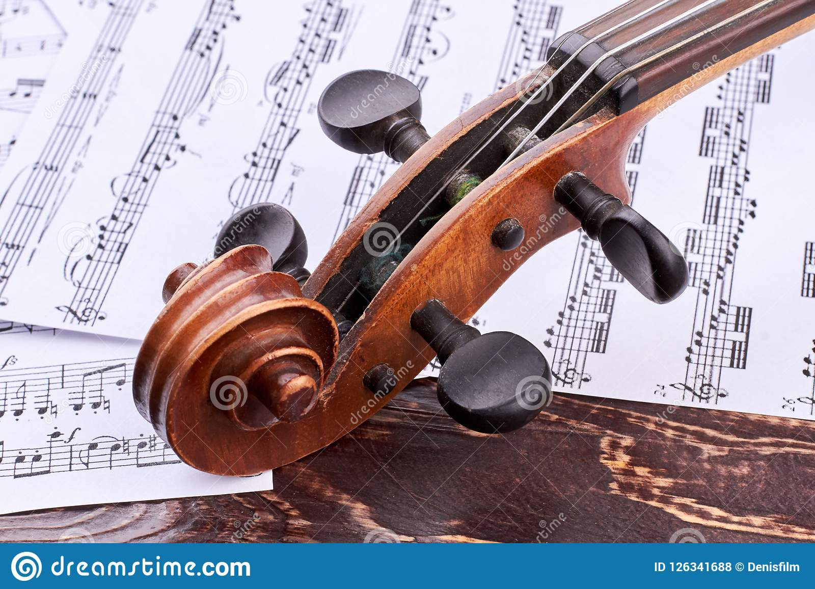 Old Violin Scroll And Peg Box  Stock Photo - Image of