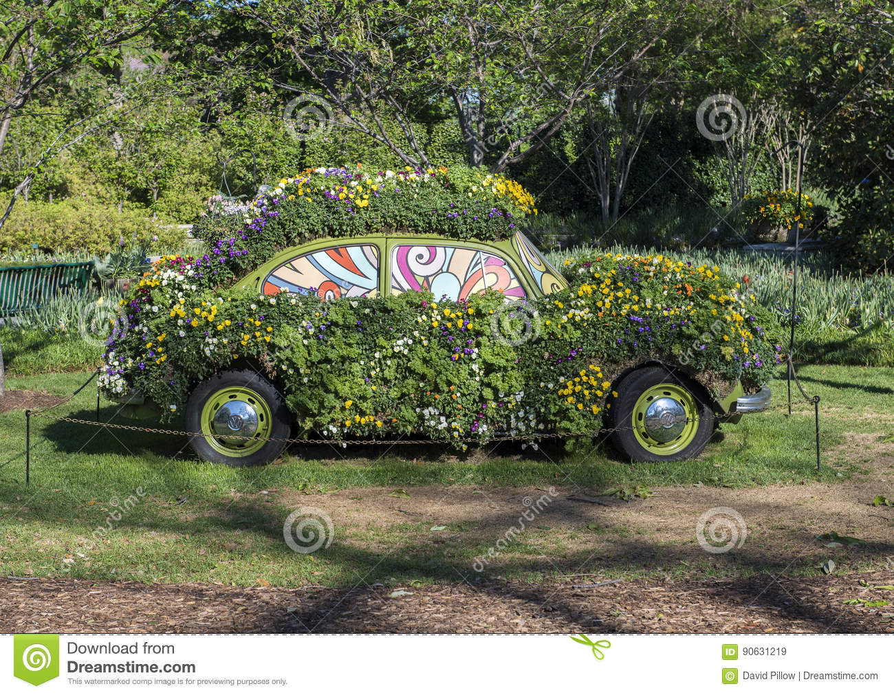 An old Volkswagen bug is covered with pansies at the Dallas Arboretum