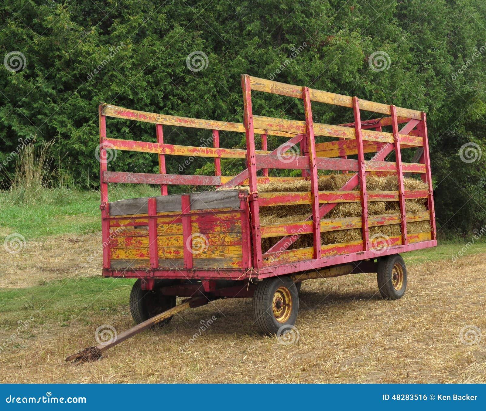 Electric Farm Wagon ~ Old wagon for hauling hay stock photo image of farm