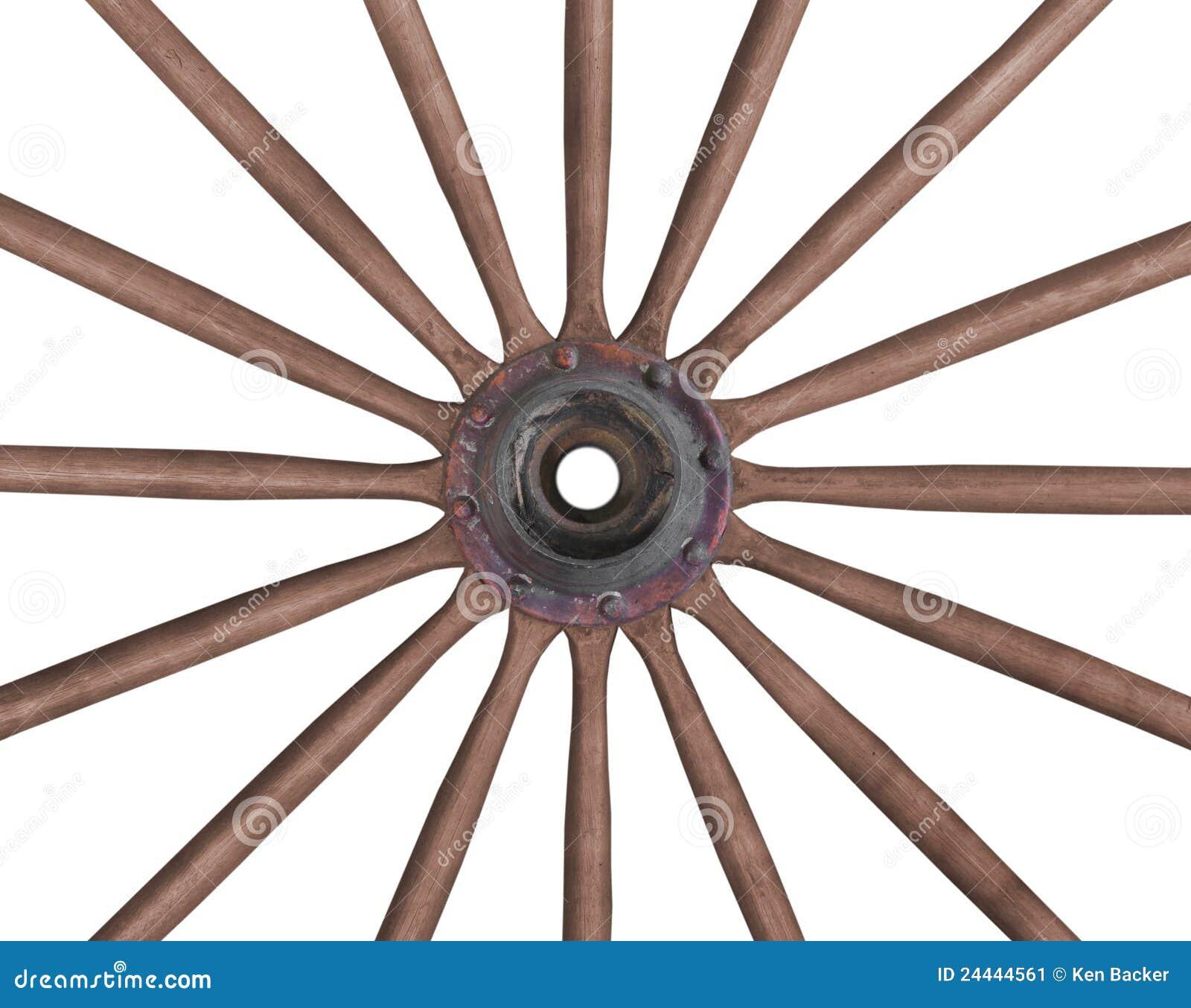 Old wagon wheel isolated