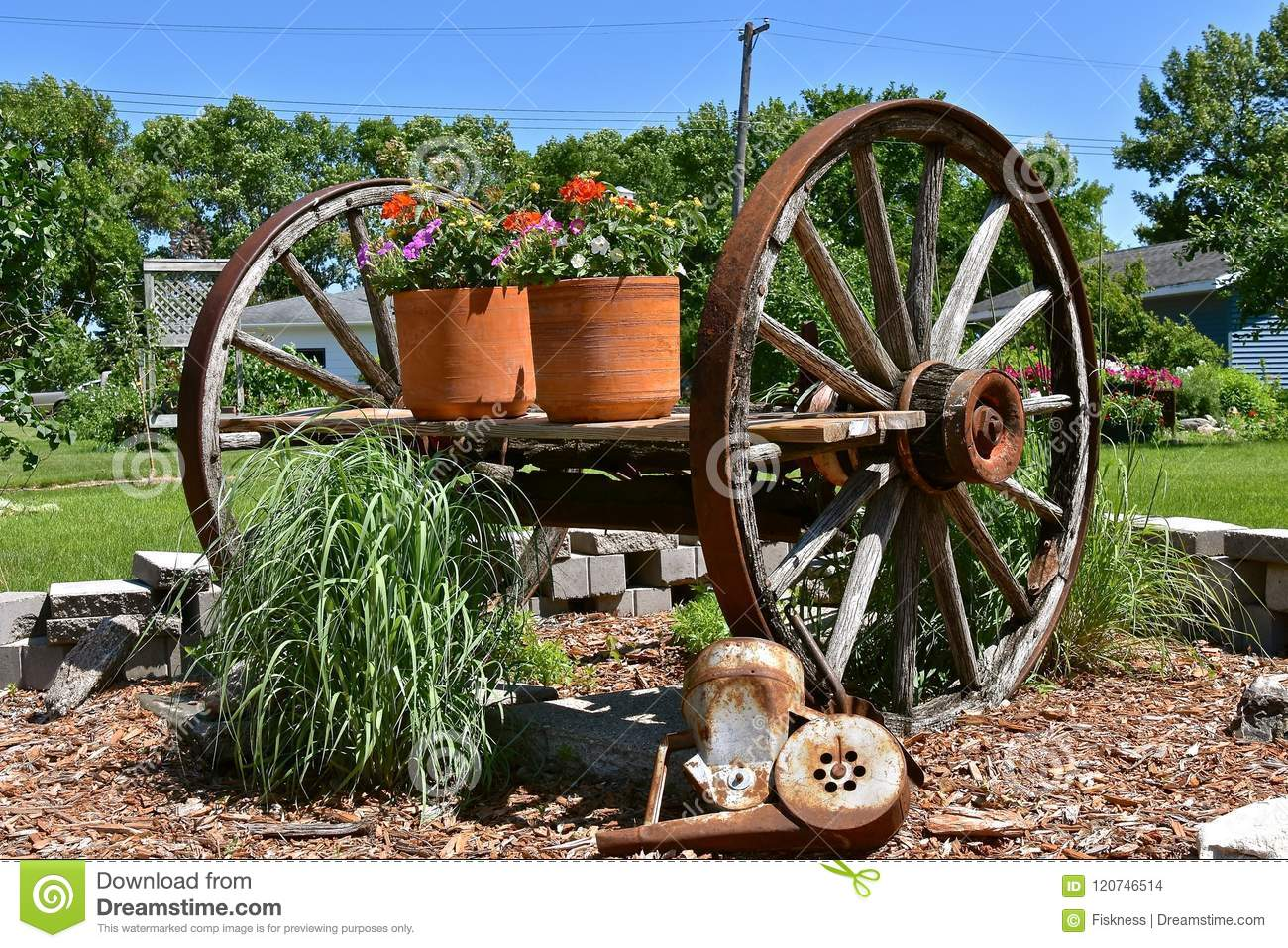 Old Wooden Wagon Wheels On A Cart Holding Flower Pots Stock Photo Image Of Wood Farm 120746514