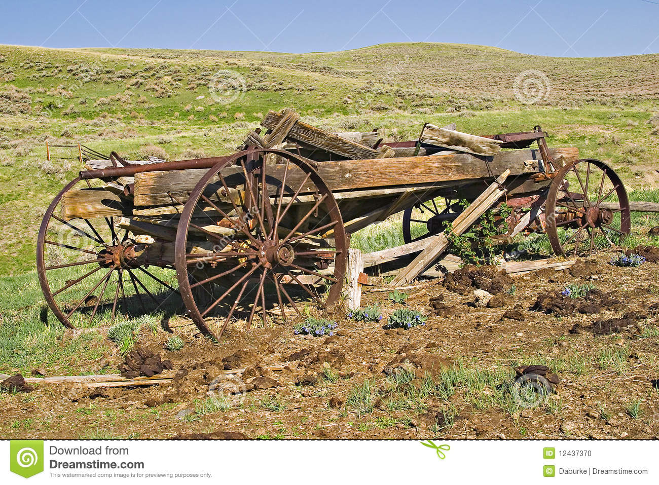 Old Wooden Wagon In Wyoming Hills Stock Photo