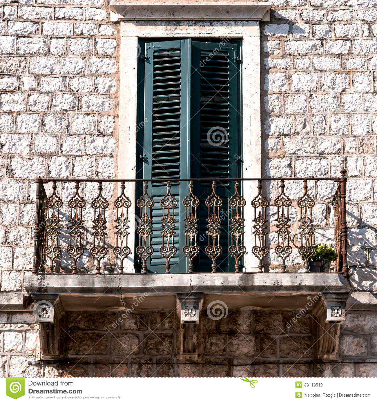 Balcony In Marble Wall : Old wall with balcony and window stock image of