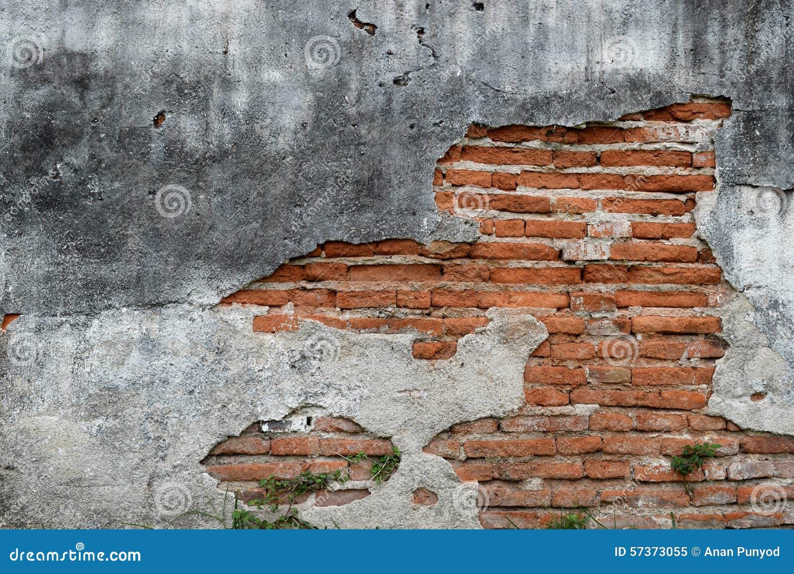 Old Brick Wall Decor : Old wall brick cracks art retro background stock image