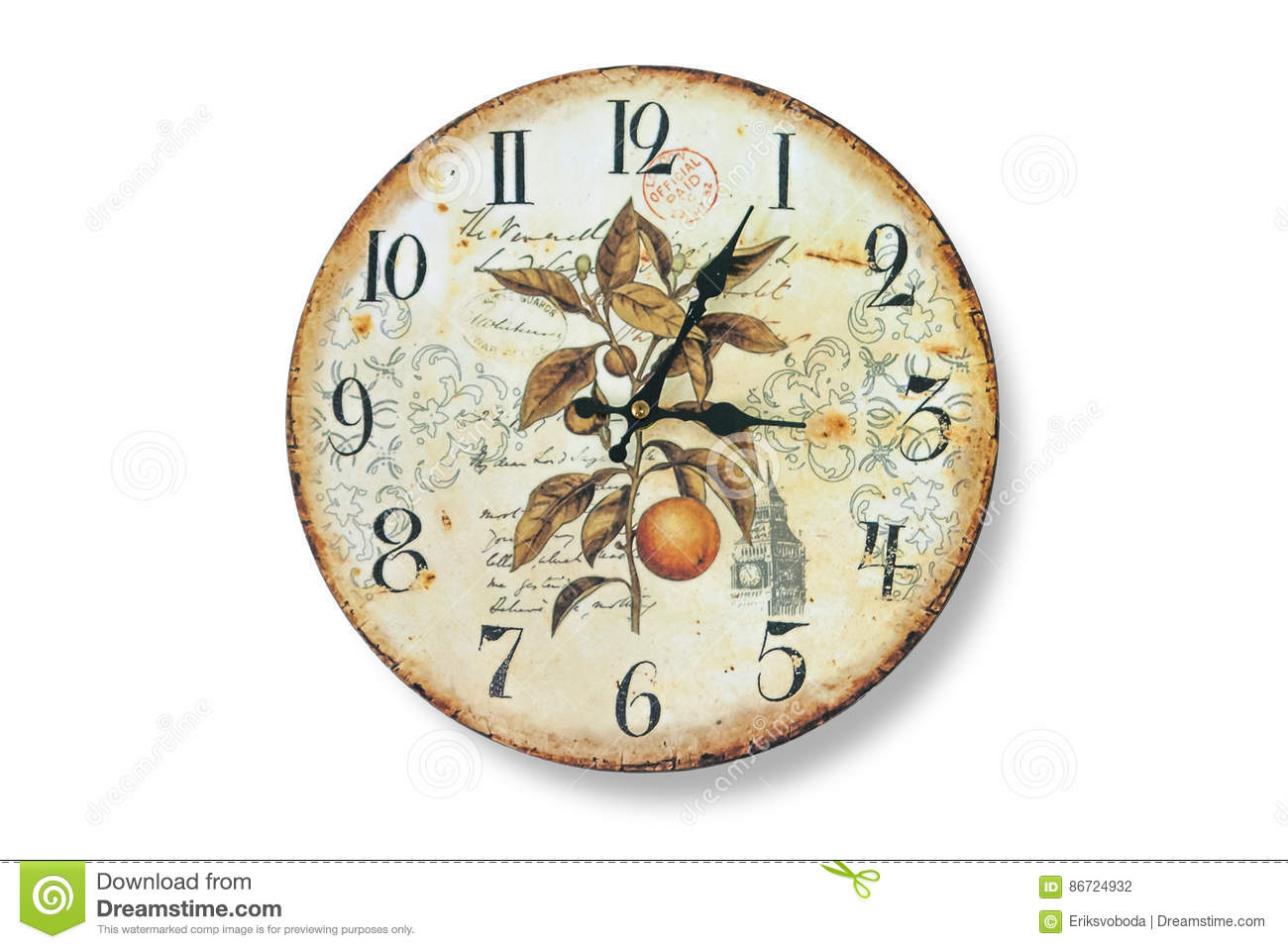 Old Wall Clock With Fading And Rust Against The White Bleached Walls