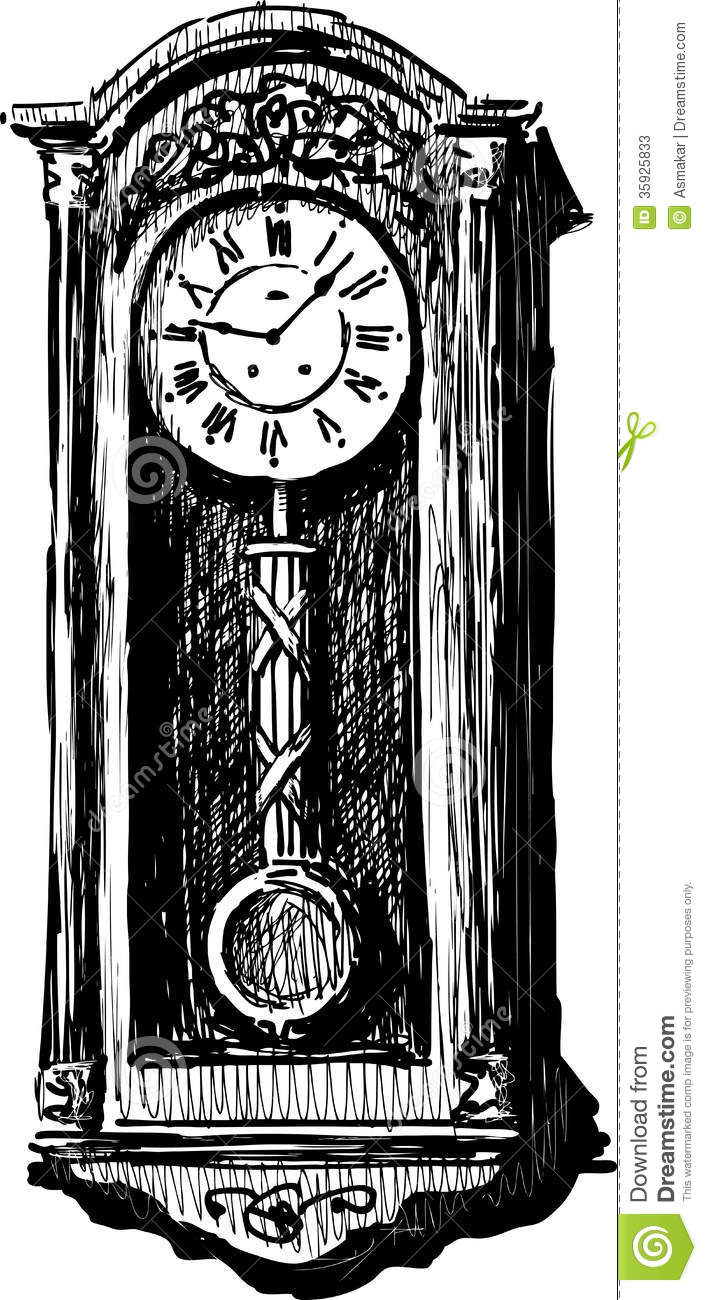 Vintage grandfather clock drawing