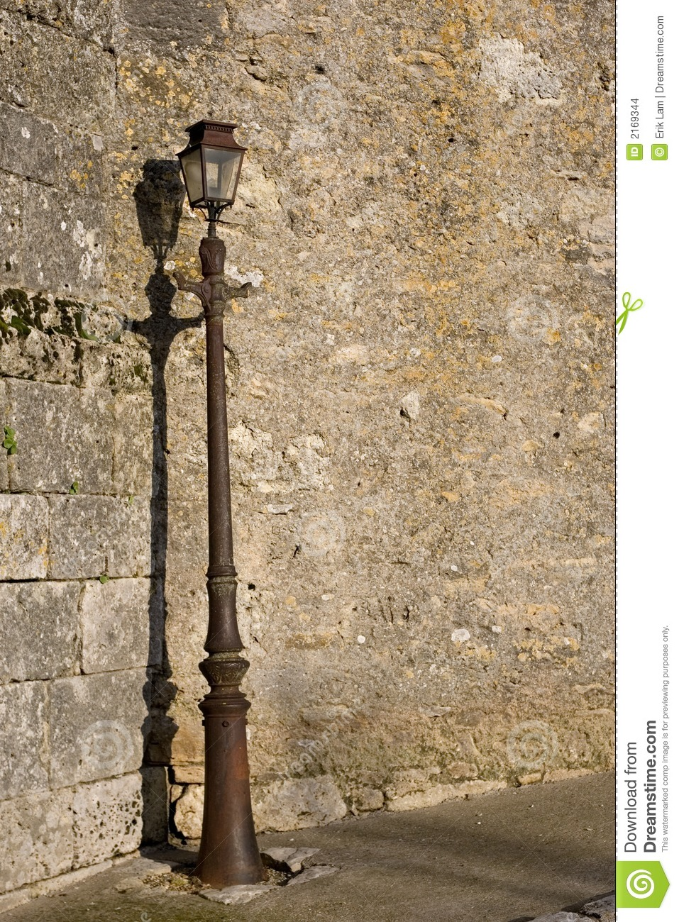 Old Wall With Lamp Post Stock Images Image 2169344