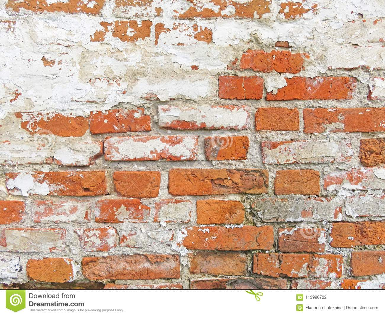 Red, Terracotta and White Brick Background. Old Wall of Red Bricks and White Brayed and Cracked Old Paint.
