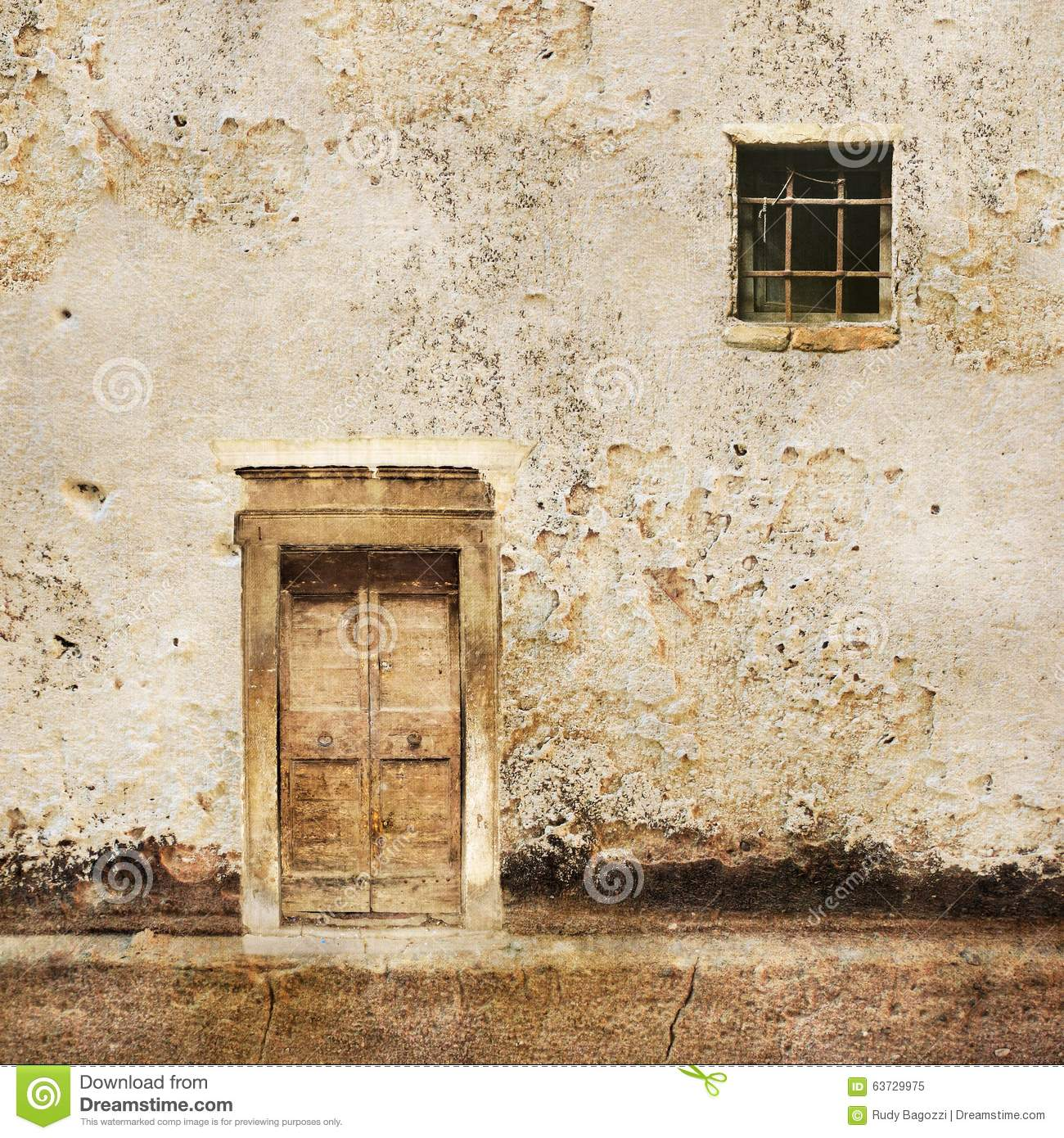 Old house wall with wooden door and window royalty free for Door with small window