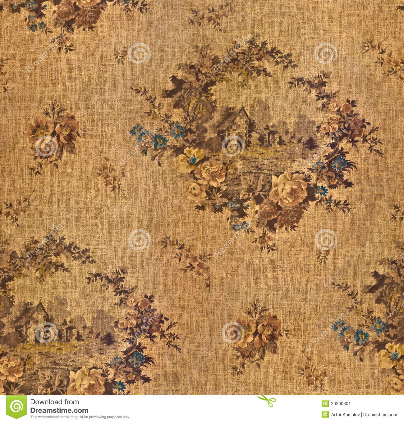 Old Wallpaper Seamless Texture Stock Image Image of pattern