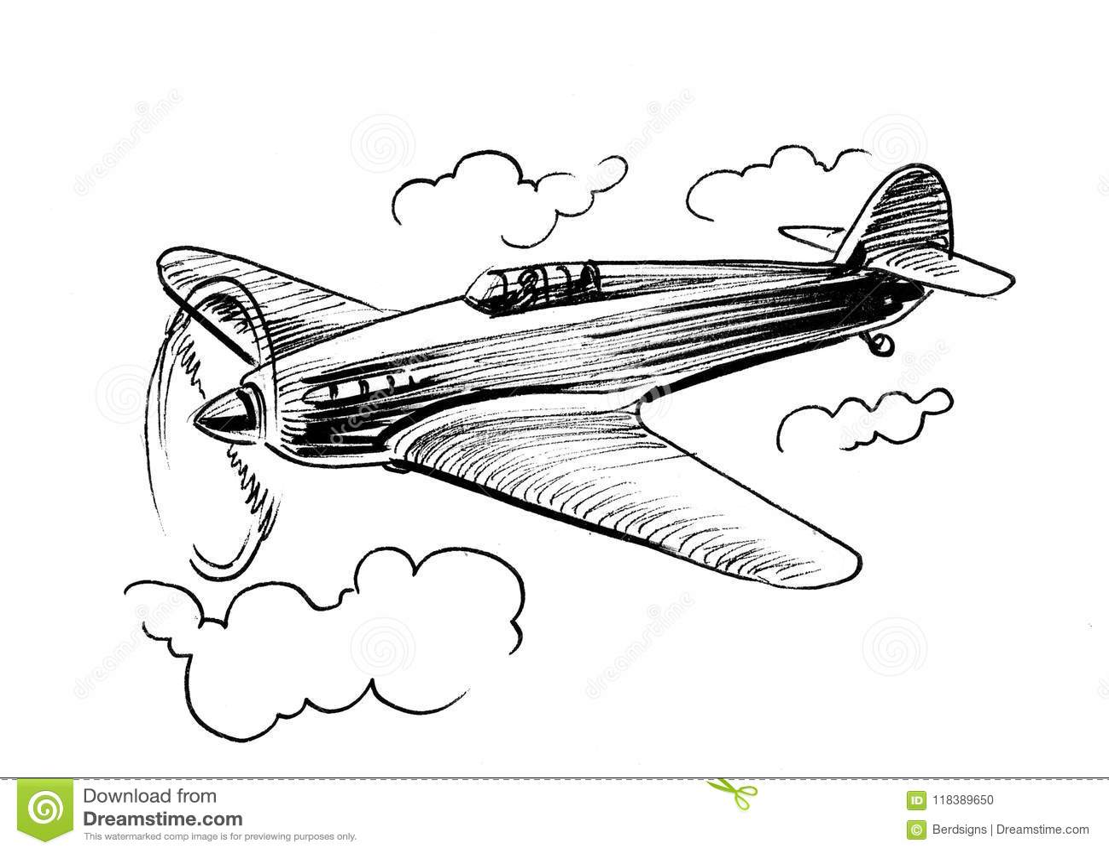 Old War Plane Stock Illustration Illustration Of White 118389650
