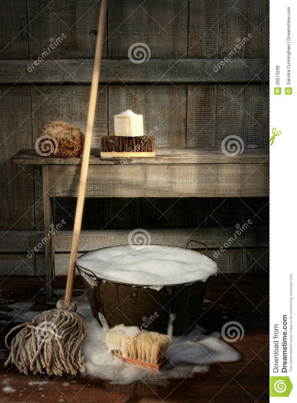 Old Wash Bucket With Mop And Brushes Stock Photo Image