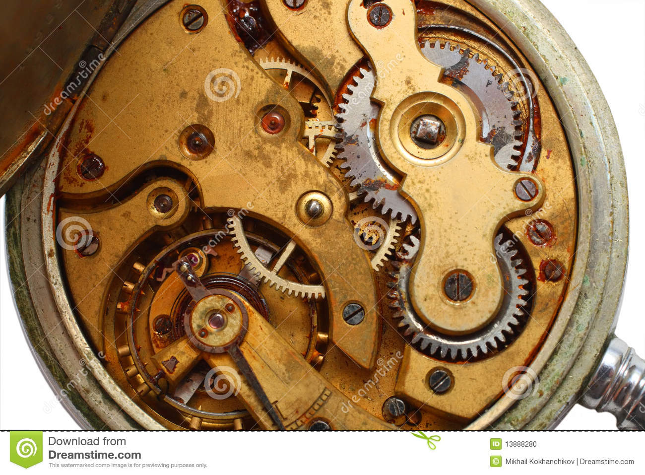 Old Watch Rusty Gear Macro Stock Photo Image 13888280