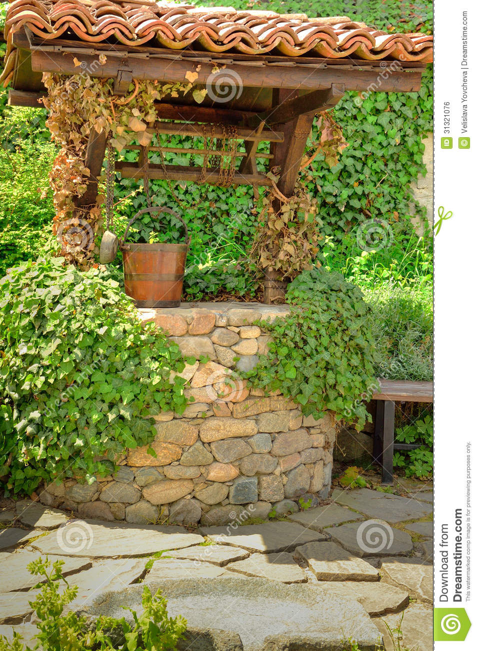 Old Wishing Well Among Ivy Leaves Royalty Free Stock Image ...