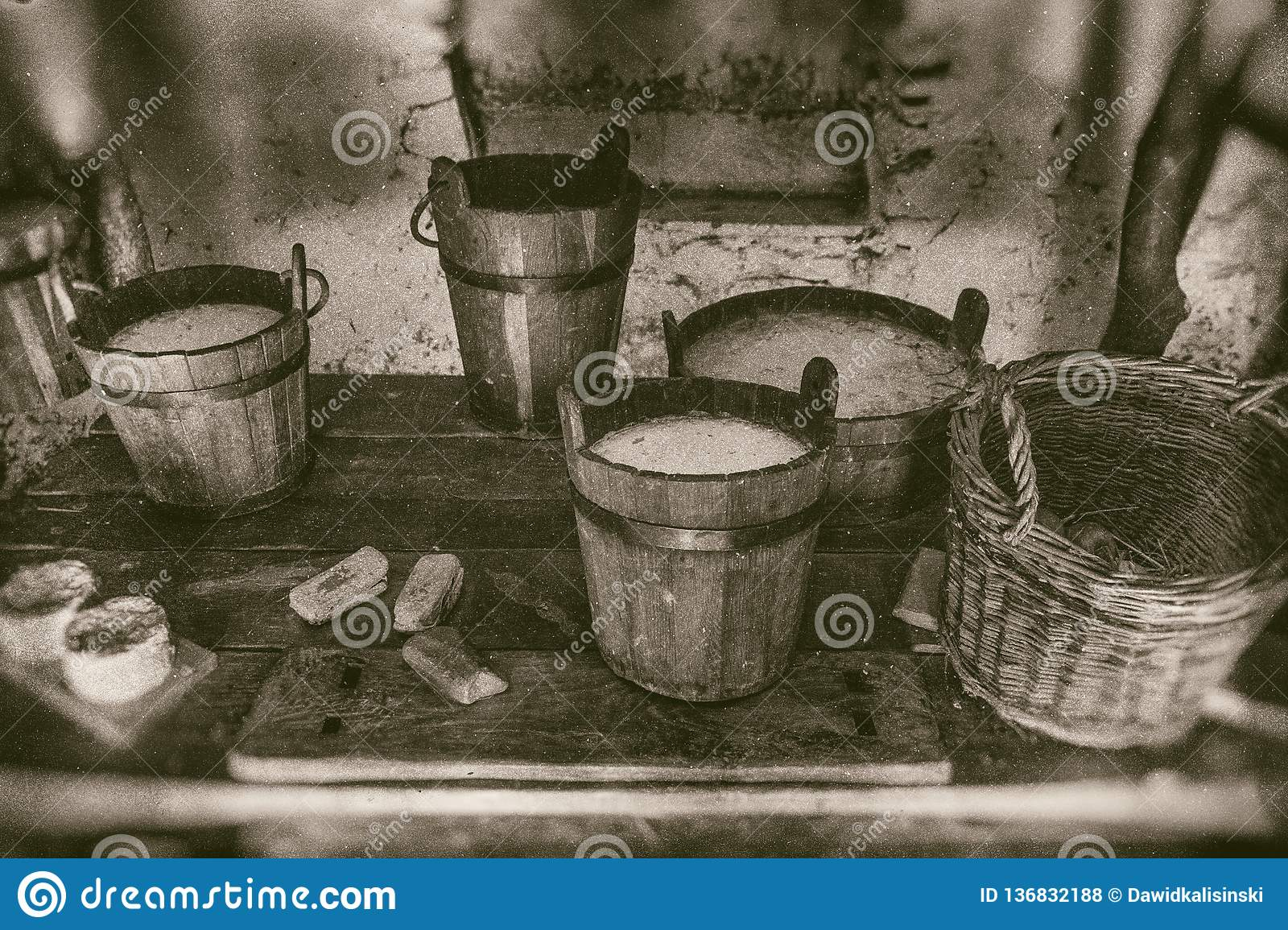 Old Way Of Making Cheese And Diary Products Buckets Of Milk Cream