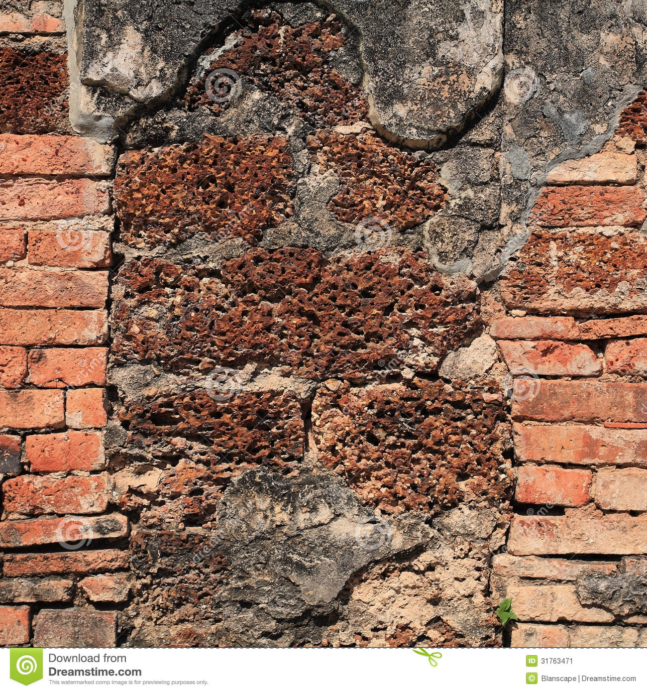 Laterite stone brick wall stock images image 35510874 - Old Weathered Brick And Laterite Stone Stock Image